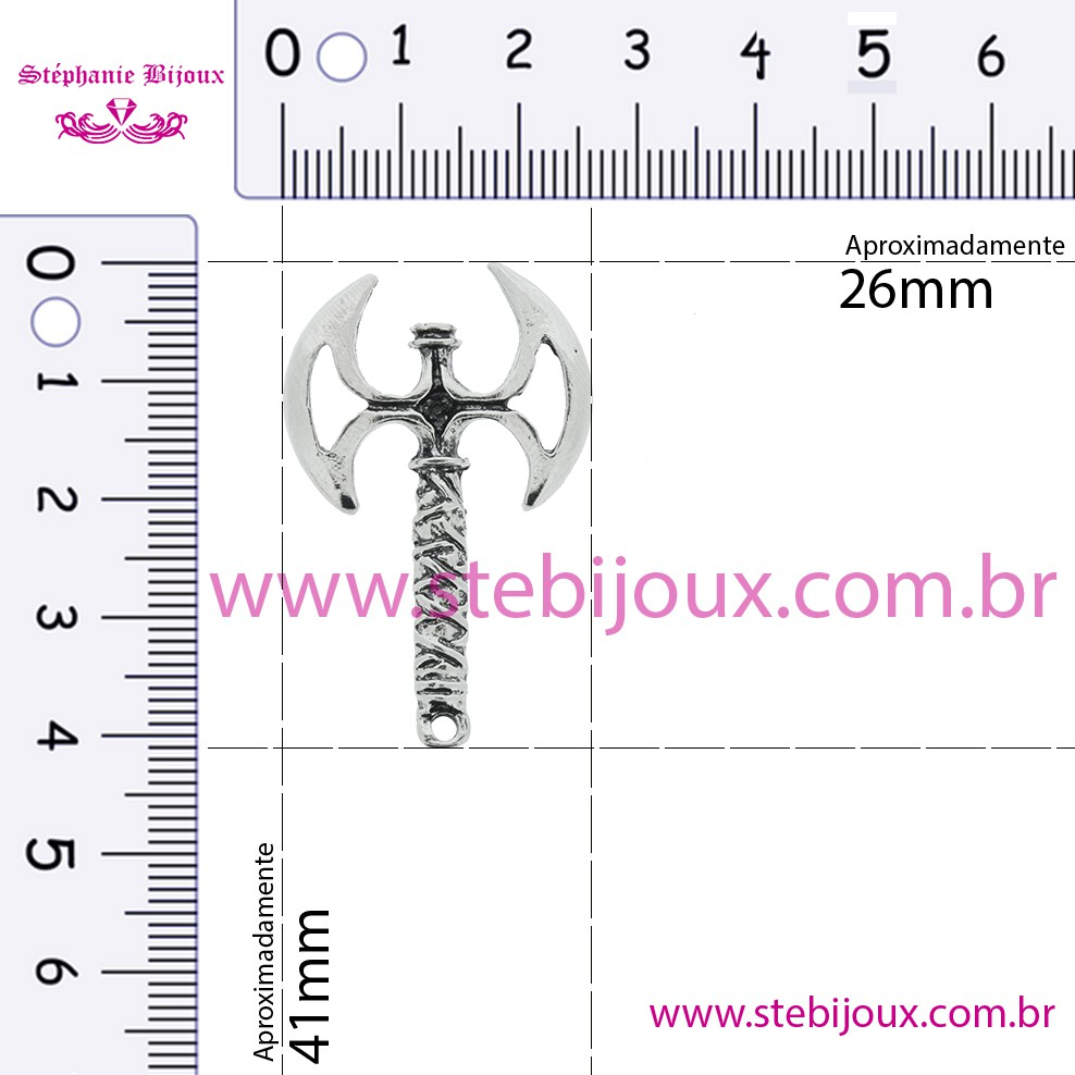 Machado Xangô - Níquel Velho - 41mm  - Stéphanie Bijoux® - Peças para Bijuterias e Artesanato