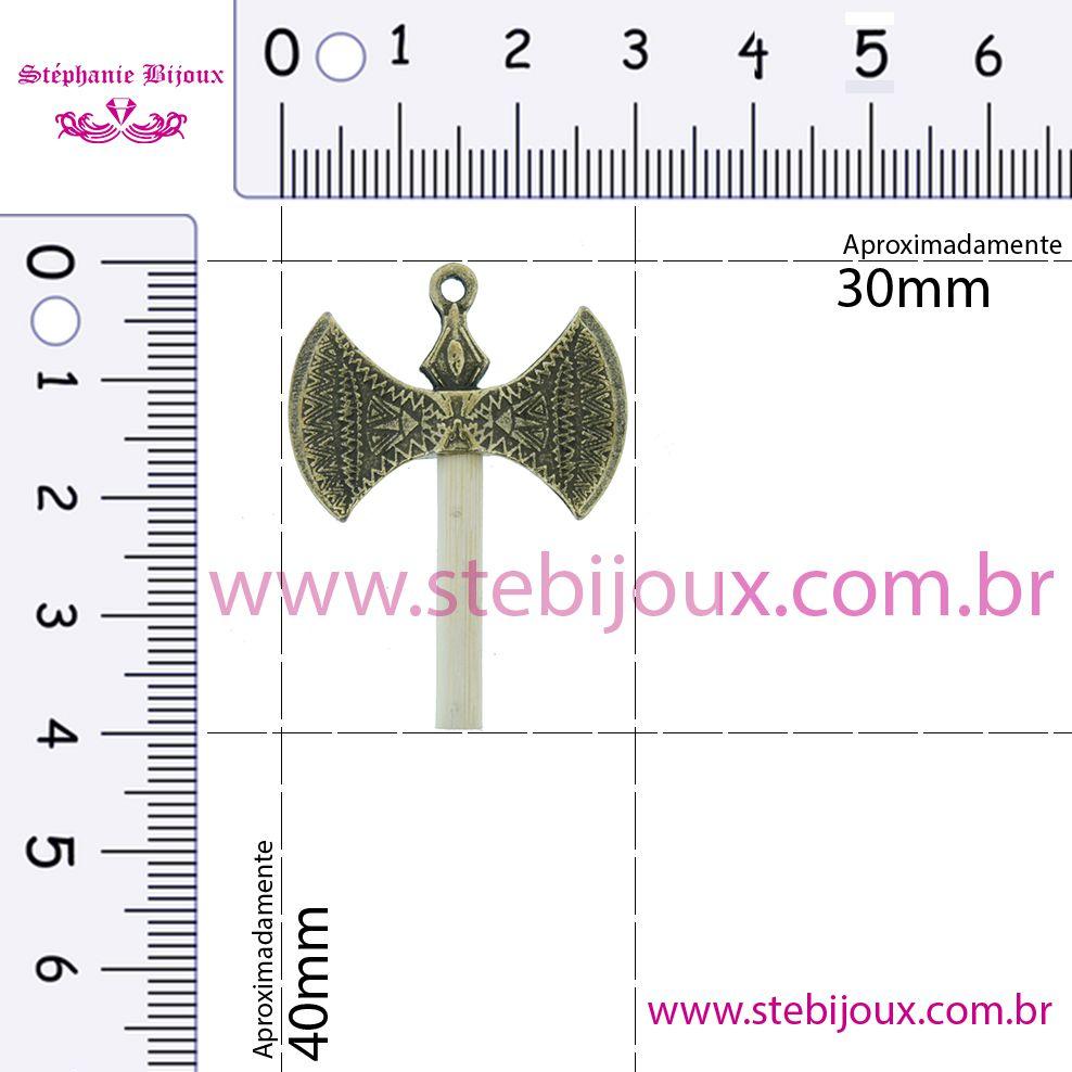 Machado Xangô - Ouro Velho - 40mm  - Stéphanie Bijoux® - Peças para Bijuterias e Artesanato