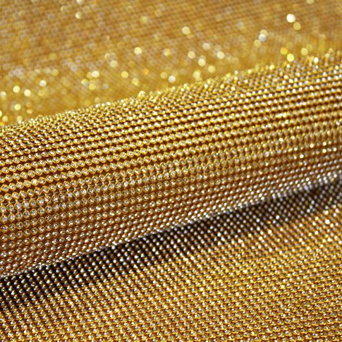 Manta de Strass - Dourada - 120x45cm  - Stéphanie Bijoux® - Peças para Bijuterias e Artesanato