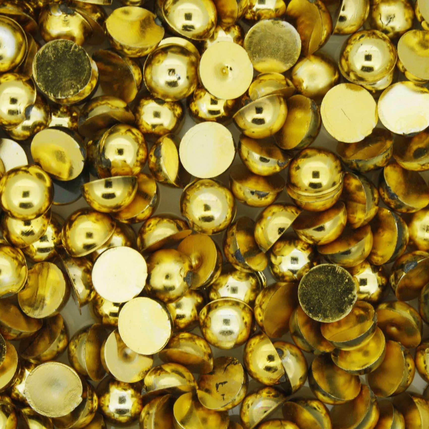 Meia Pérola - Dourada - 6mm  - Stéphanie Bijoux® - Peças para Bijuterias e Artesanato