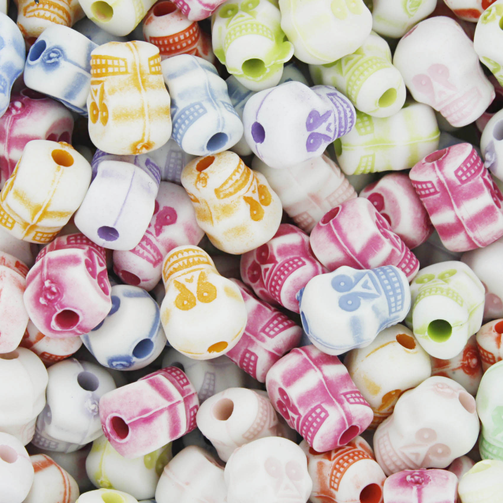 Miçanga Colorida / Infantil - Caveirinhas  - Stéphanie Bijoux® - Peças para Bijuterias e Artesanato