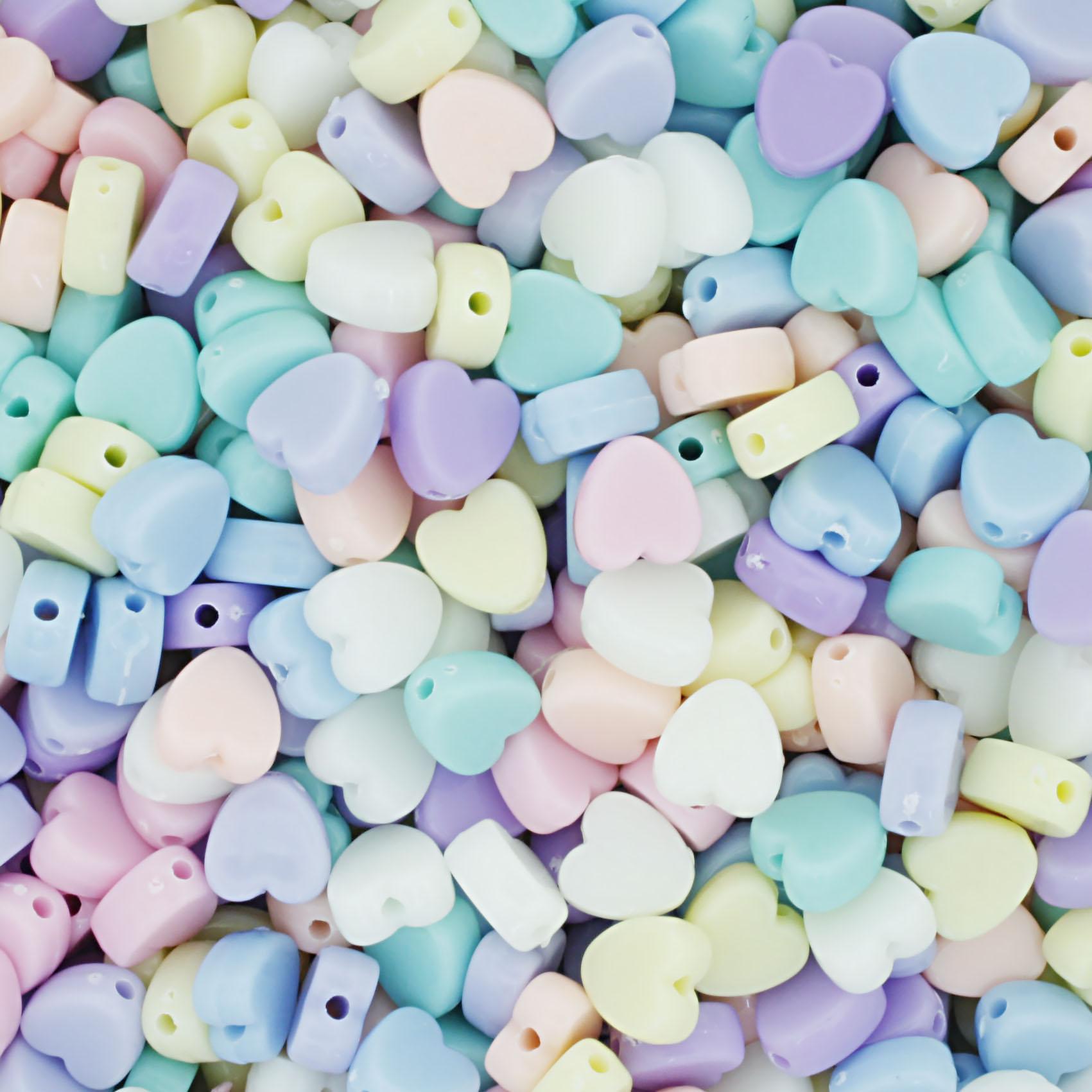 Miçanga Colorida Infantil - Coração Candy  - Stéphanie Bijoux® - Peças para Bijuterias e Artesanato