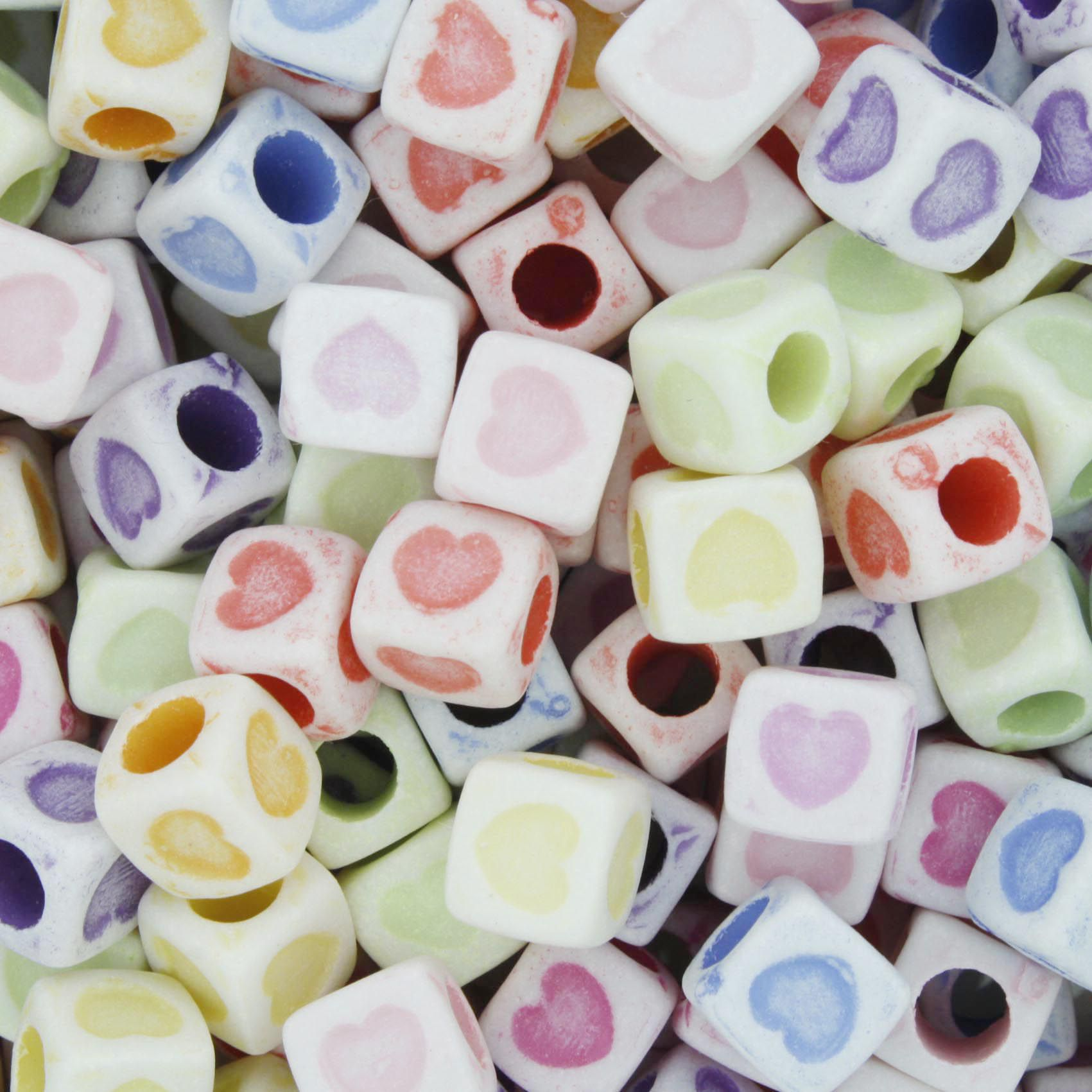 Miçanga Colorida / Infantil - Coração Cubo  - Stéphanie Bijoux® - Peças para Bijuterias e Artesanato