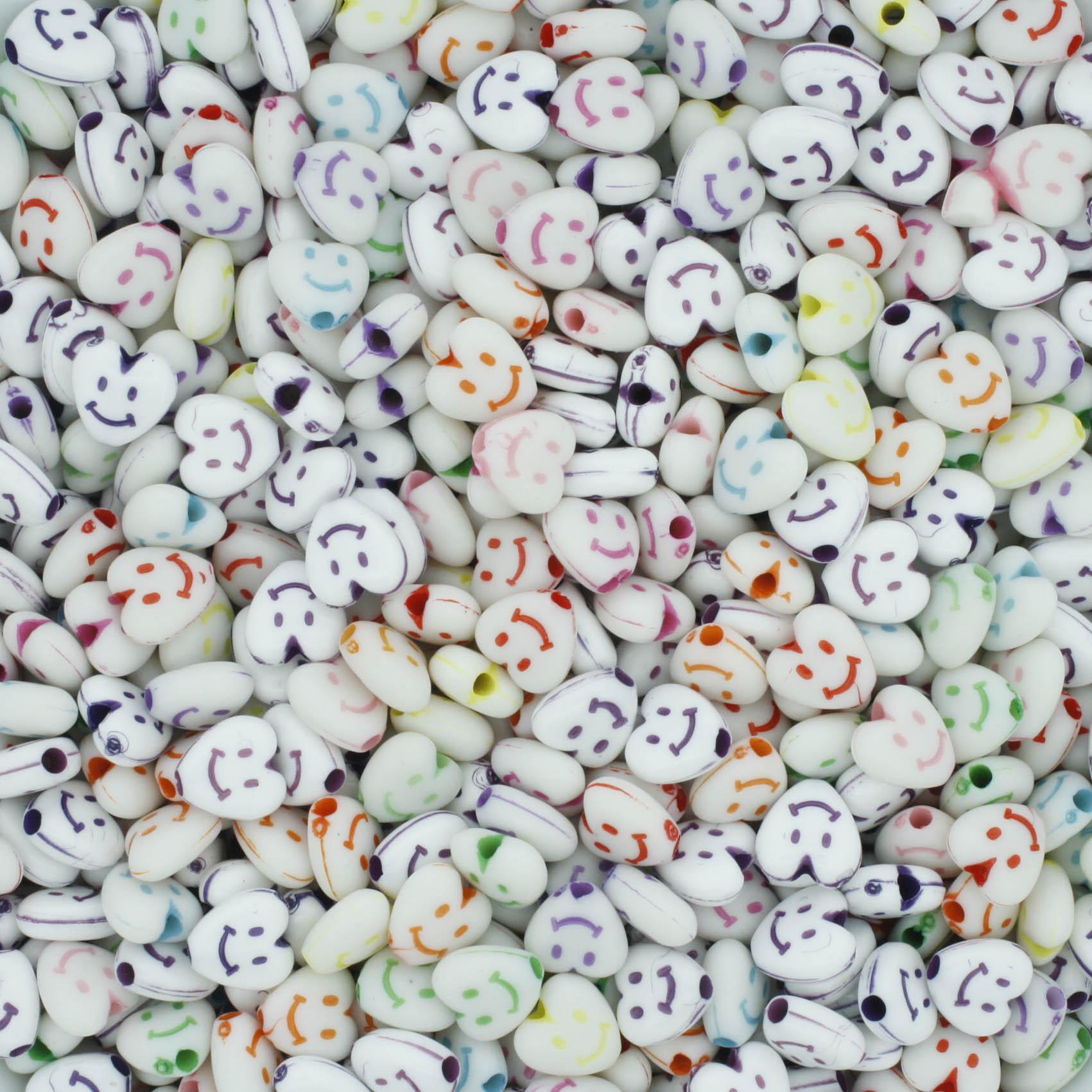 Miçanga Colorida Infantil - Coração Rostinhos  - Stéphanie Bijoux® - Peças para Bijuterias e Artesanato