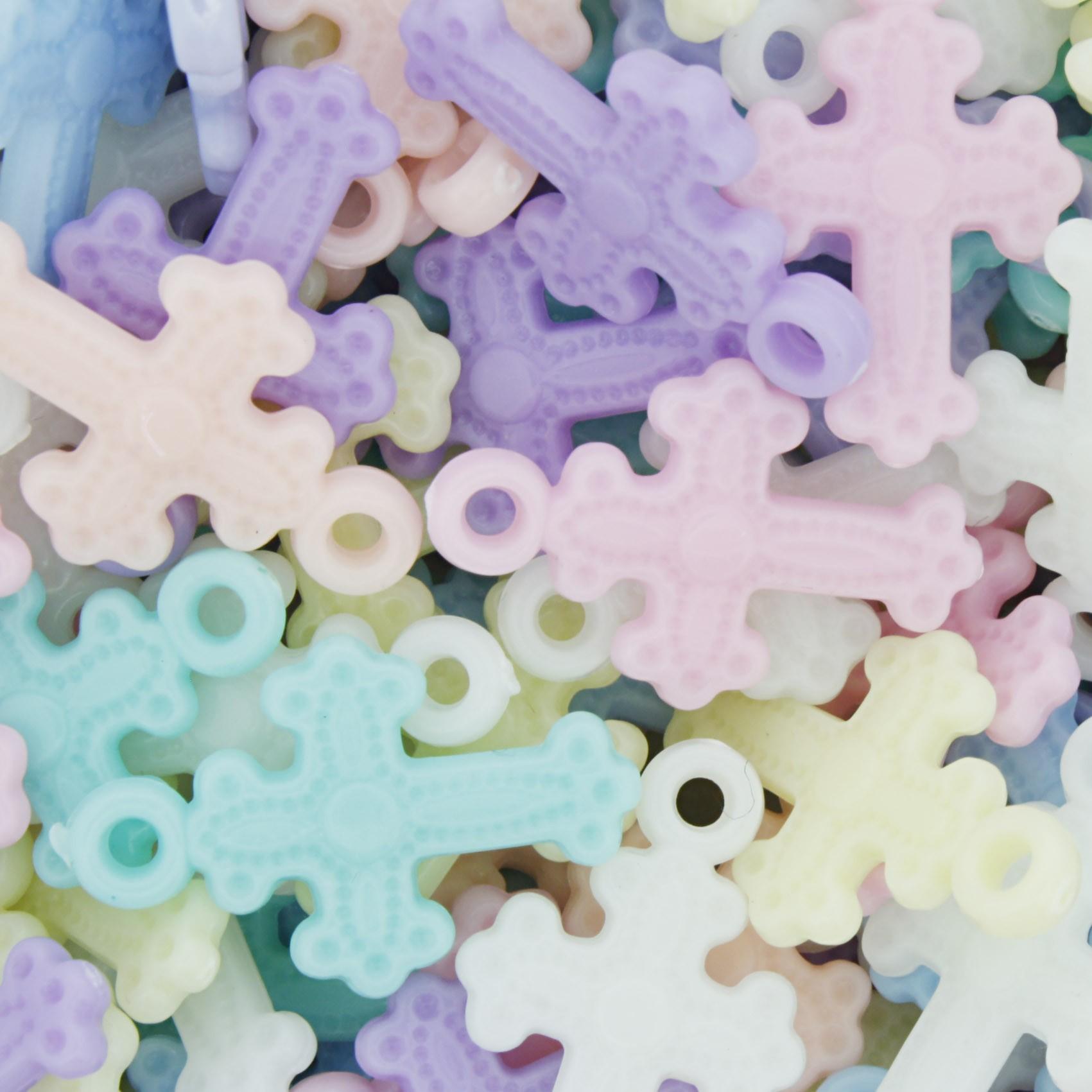Miçanga Colorida Infantil - Crucifixos Pingentes Candy  - Stéphanie Bijoux® - Peças para Bijuterias e Artesanato