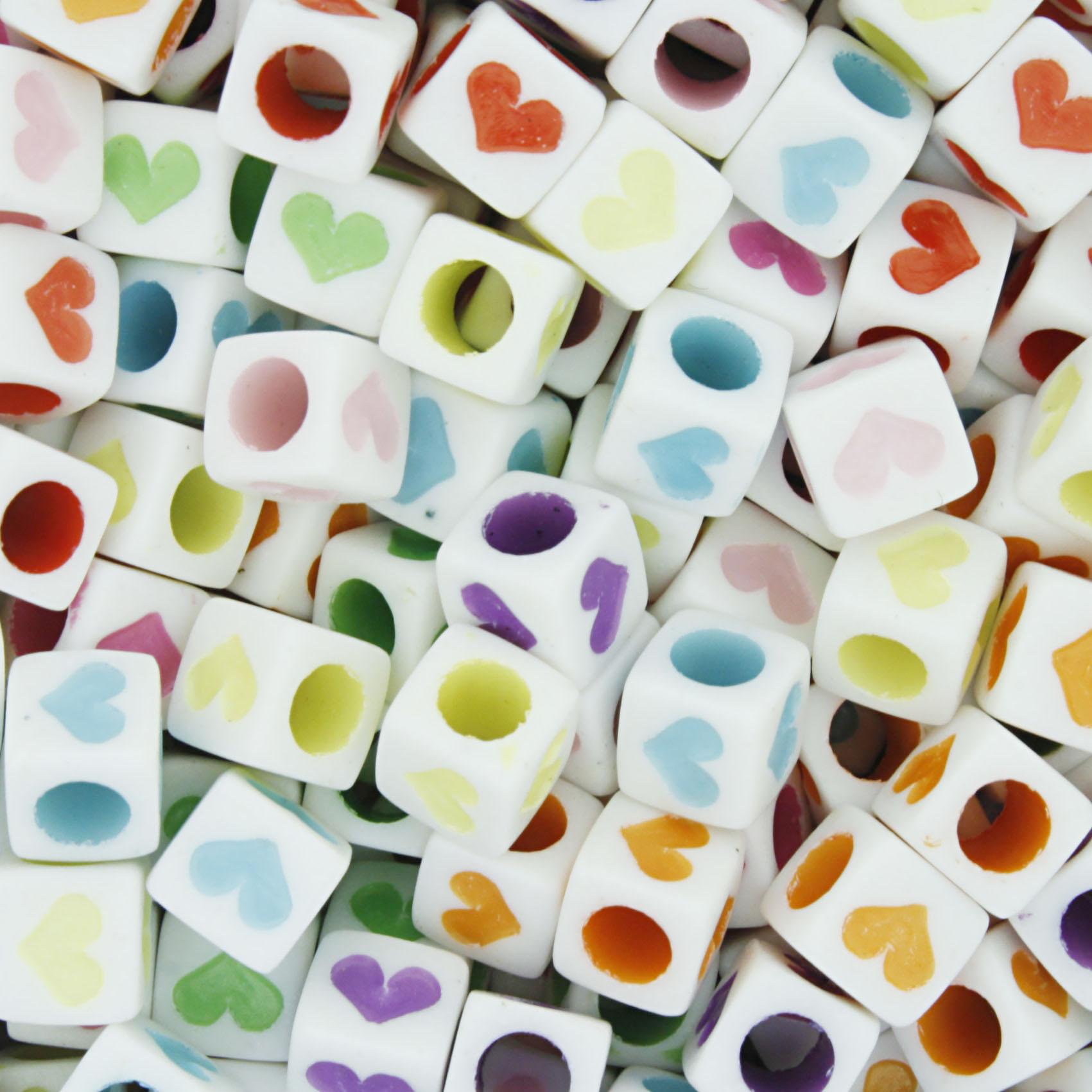 Miçanga Colorida / Infantil - Cubo Corações  - Stéphanie Bijoux® - Peças para Bijuterias e Artesanato