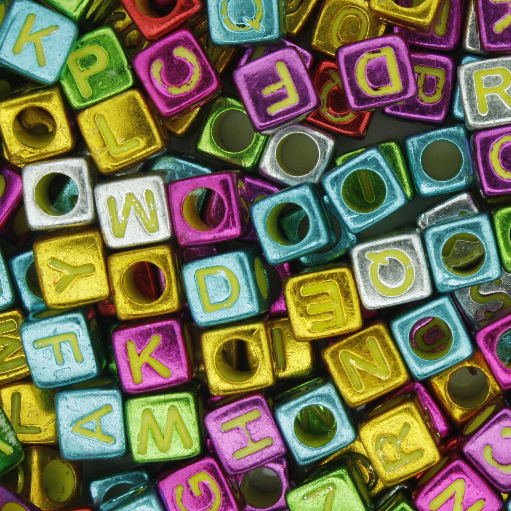 Miçanga - Letras Cubo Colorida Metalizada  - Stéphanie Bijoux® - Peças para Bijuterias e Artesanato