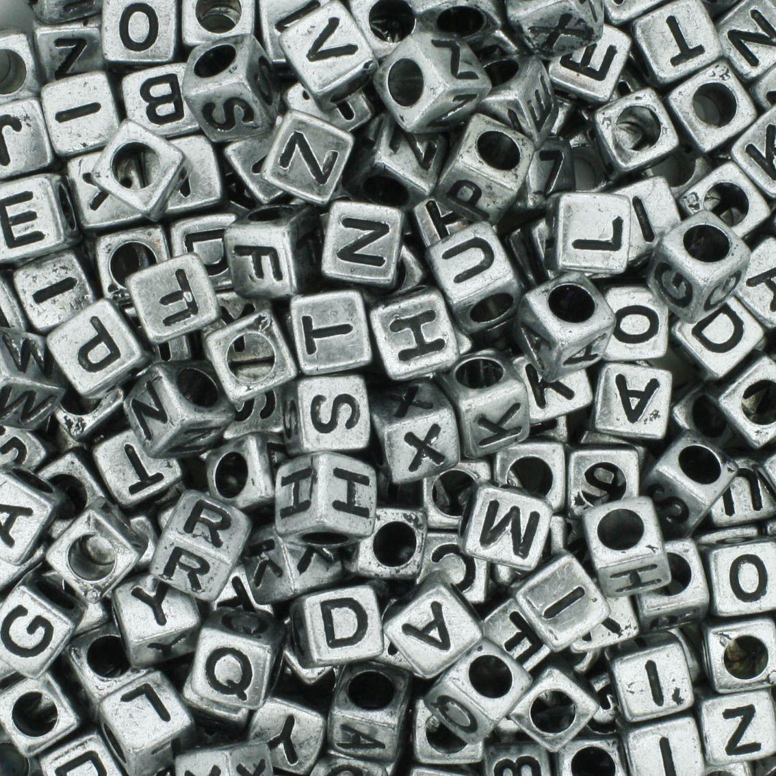 Miçanga - Letras Cubo Prateada  - Stéphanie Bijoux® - Peças para Bijuterias e Artesanato
