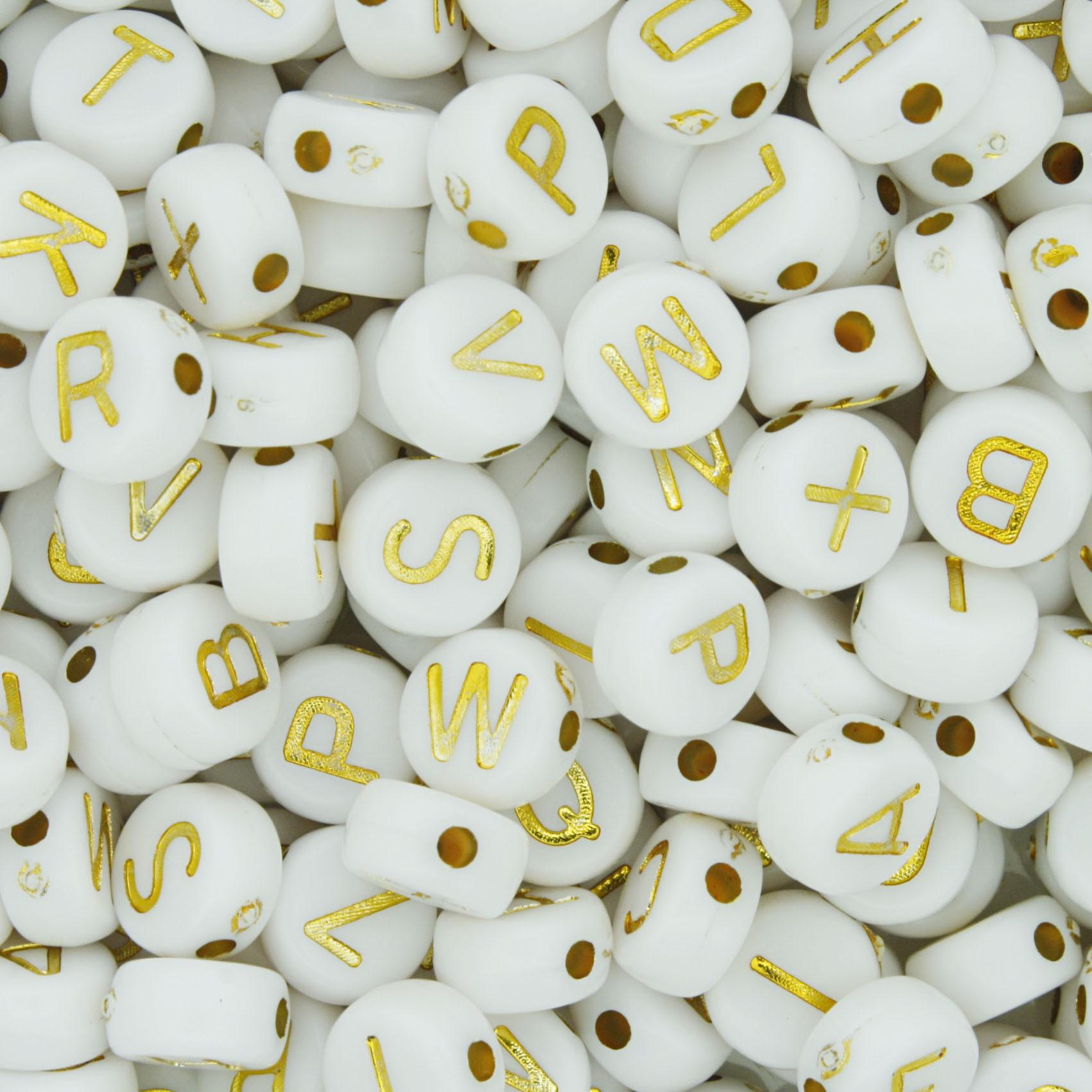 Miçanga - Letras Disco Branca e Dourada  - Stéphanie Bijoux® - Peças para Bijuterias e Artesanato