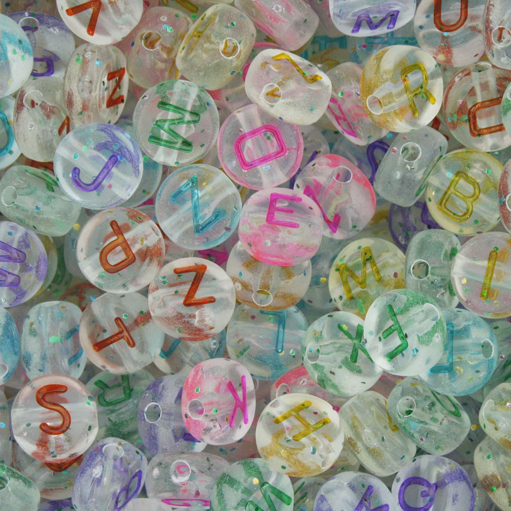 Miçanga - Letras Disco Colors Transparente c/ Glitter  - Stéphanie Bijoux® - Peças para Bijuterias e Artesanato