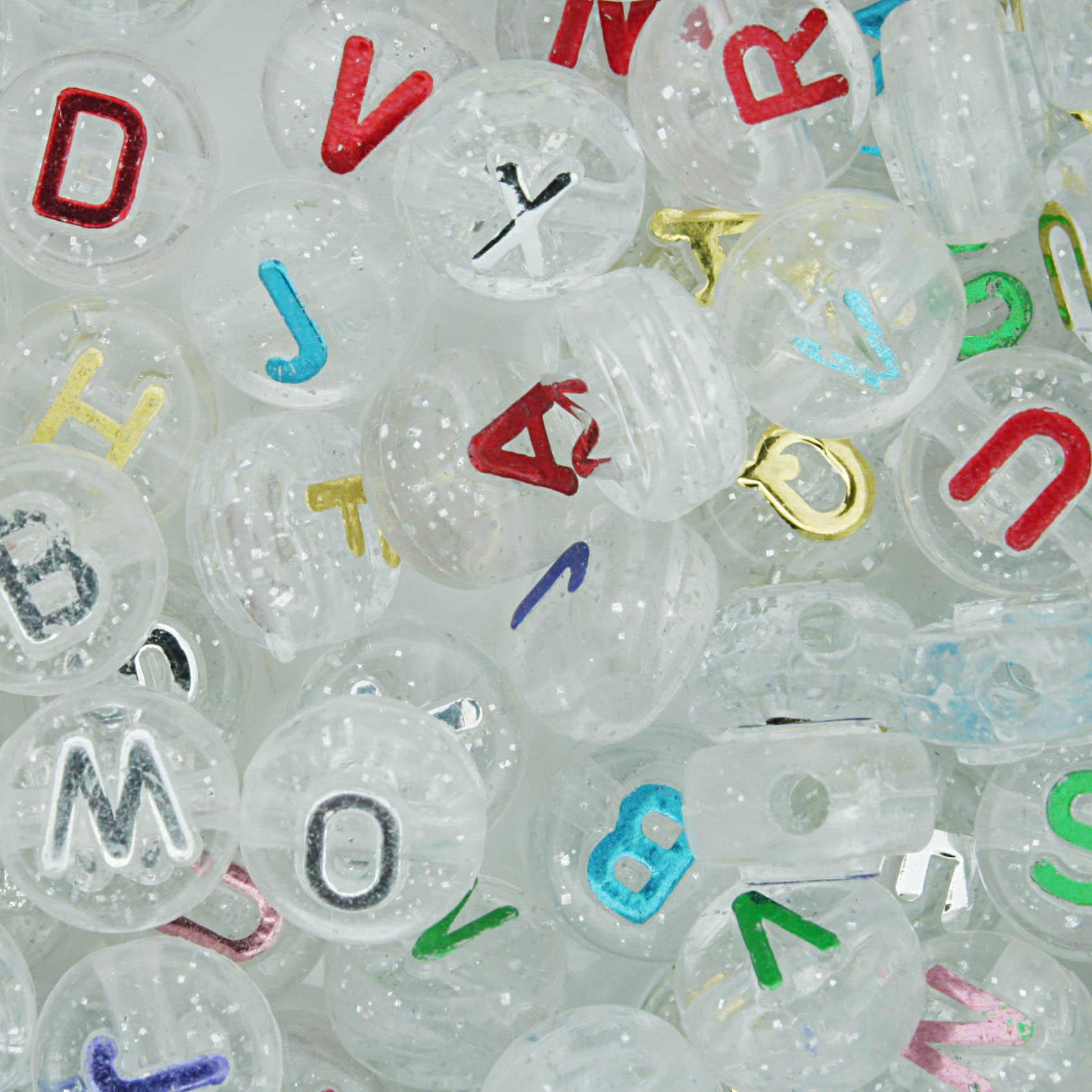 Miçanga - Letras Disco Transparente com Glitter  - Stéphanie Bijoux® - Peças para Bijuterias e Artesanato