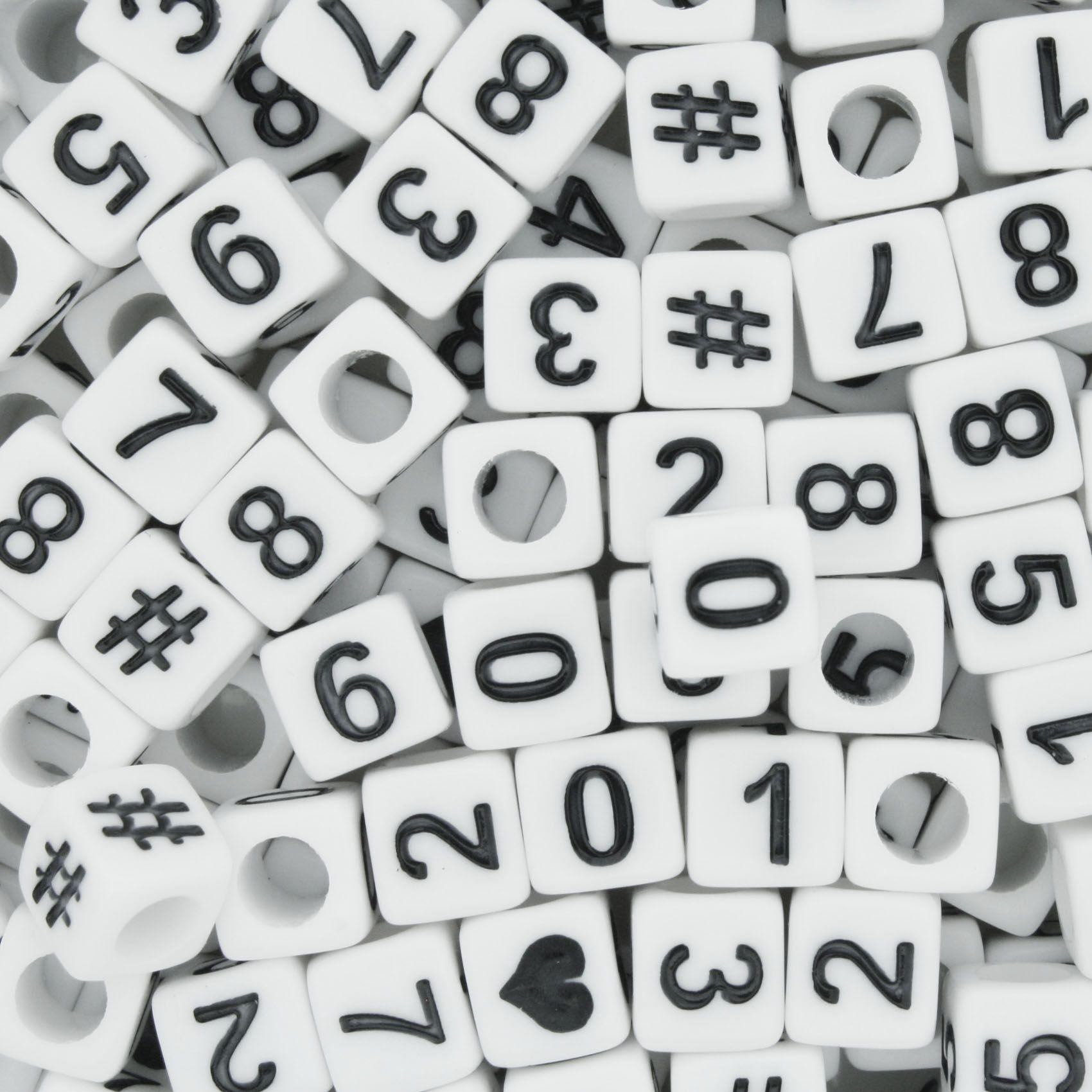 Miçanga - Números Cubo Branco Preto  - Stéphanie Bijoux® - Peças para Bijuterias e Artesanato