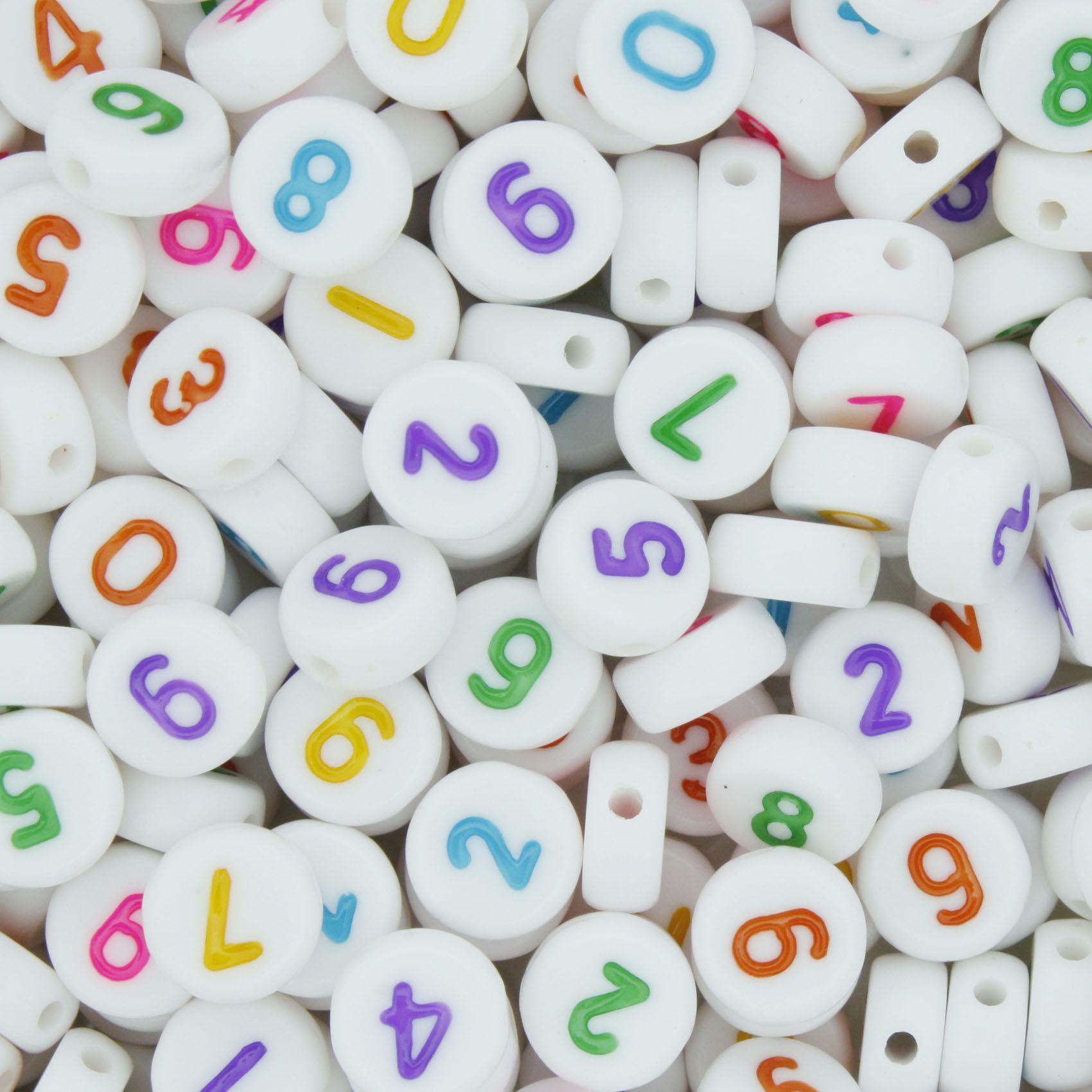 Miçanga - Números Disco Branco Colorido  - Stéphanie Bijoux® - Peças para Bijuterias e Artesanato