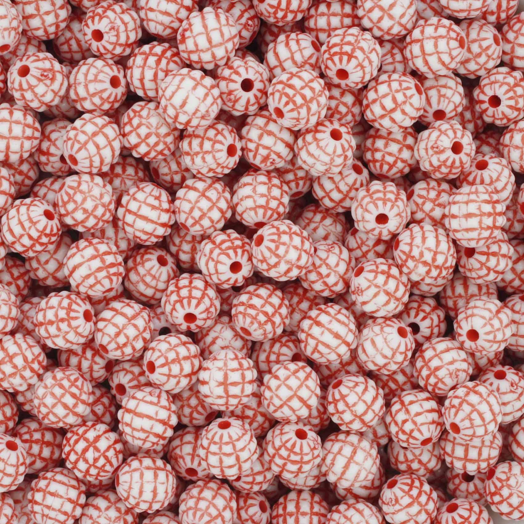 Miçanga Pesca - Abacaxi Branca e Vermelha  - Stéphanie Bijoux® - Peças para Bijuterias e Artesanato