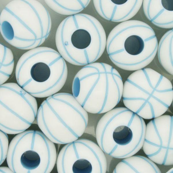 Miçanga Pesca - Basquete Branca e Azul  - Stéphanie Bijoux® - Peças para Bijuterias e Artesanato