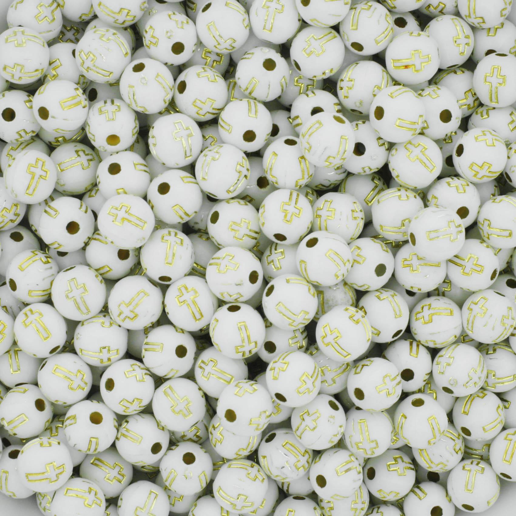 Miçanga - Cruz Branca e Dourada  - Stéphanie Bijoux® - Peças para Bijuterias e Artesanato