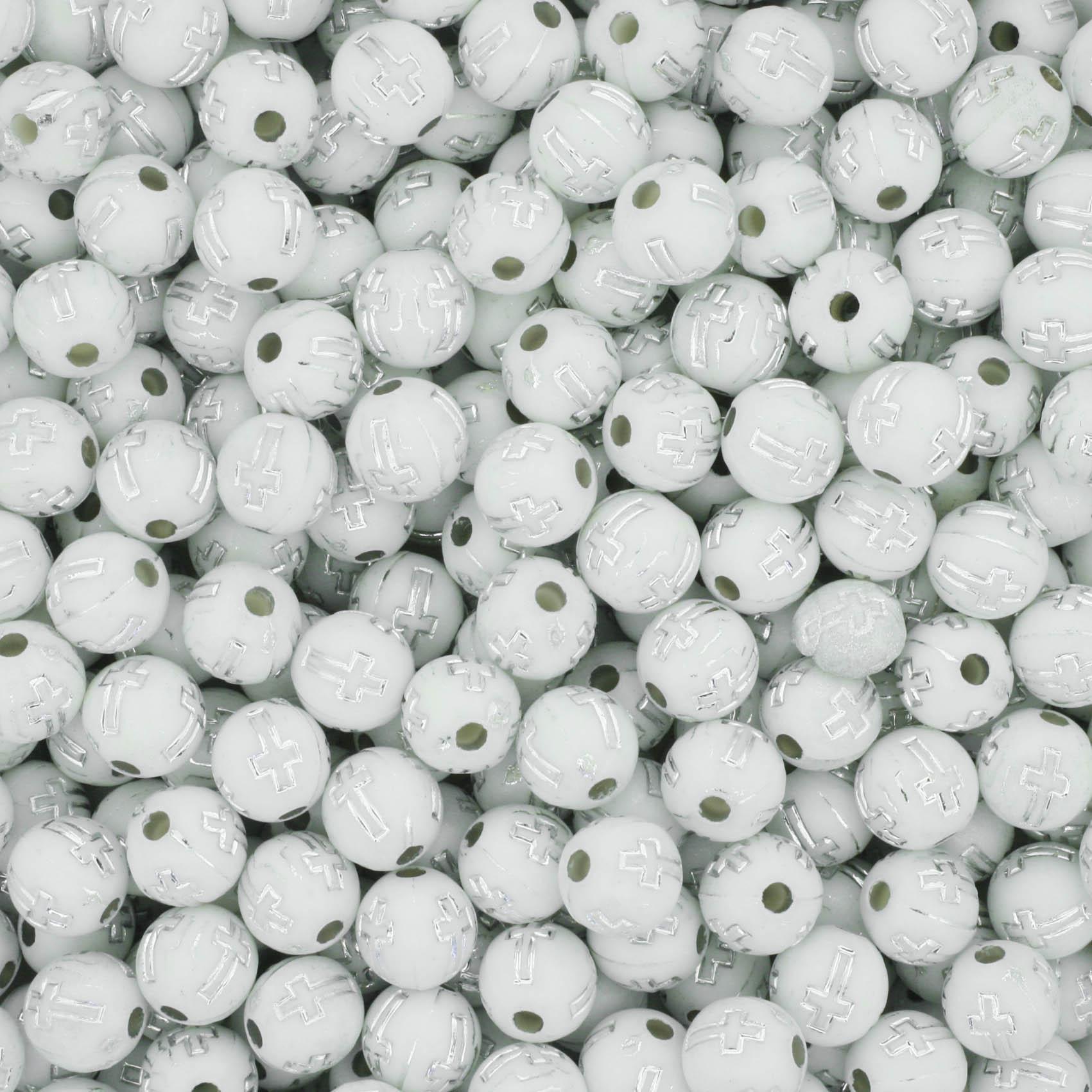 Miçanga - Cruz Branca e Níquel  - Stéphanie Bijoux® - Peças para Bijuterias e Artesanato