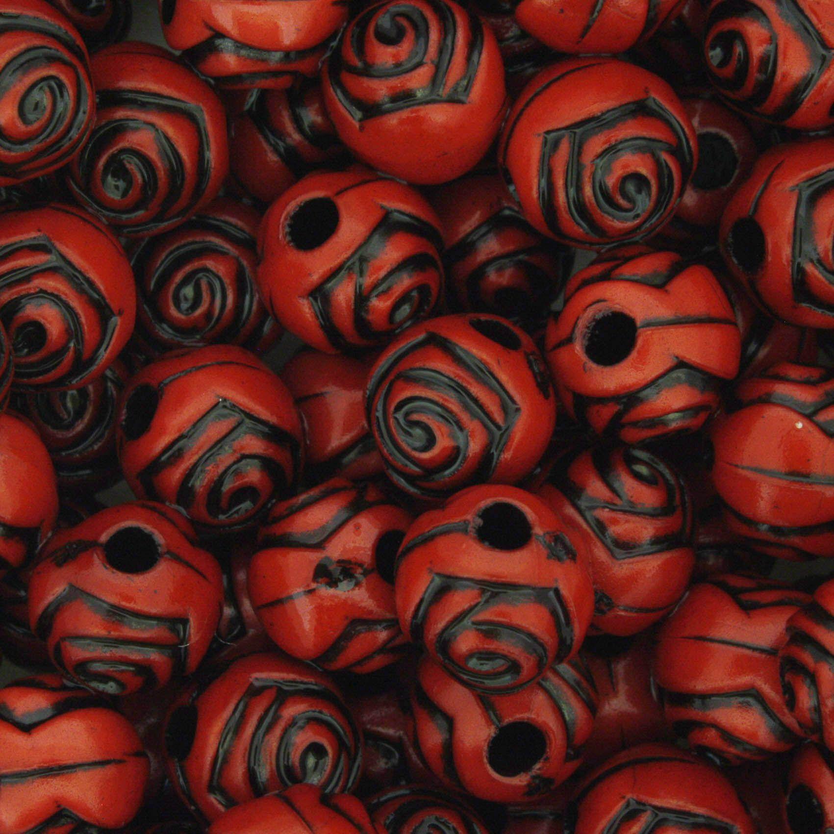 Miçanga Pesca - Flor Vermelha e Preta  - Stéphanie Bijoux® - Peças para Bijuterias e Artesanato