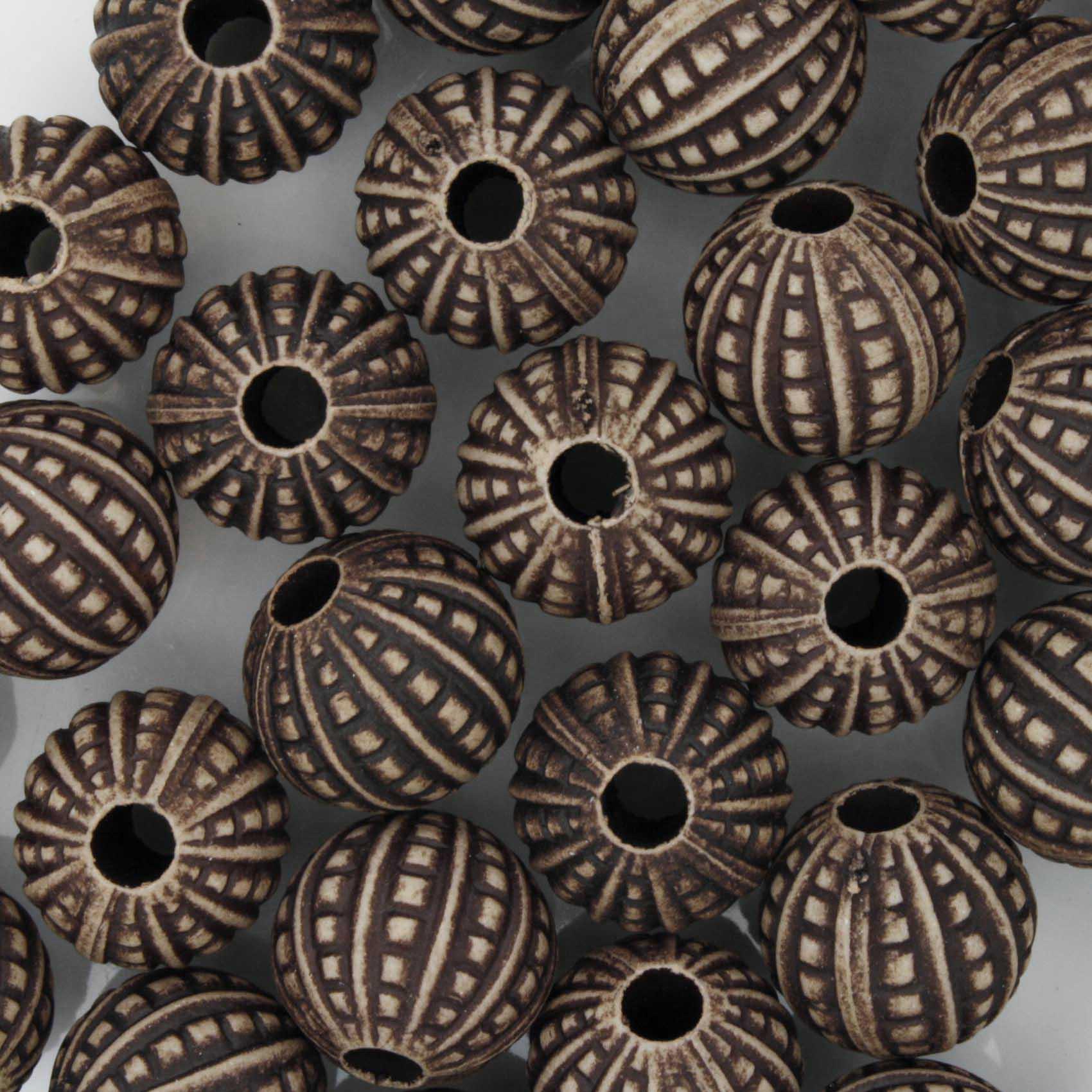 Miçanga Pesca - Pontilhada Chocolate  - Stéphanie Bijoux® - Peças para Bijuterias e Artesanato