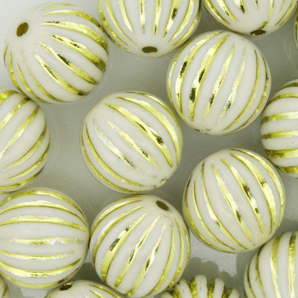 Miçanga Pesca - Sorocabão Brilho Branca e Dourada  - Stéphanie Bijoux® - Peças para Bijuterias e Artesanato