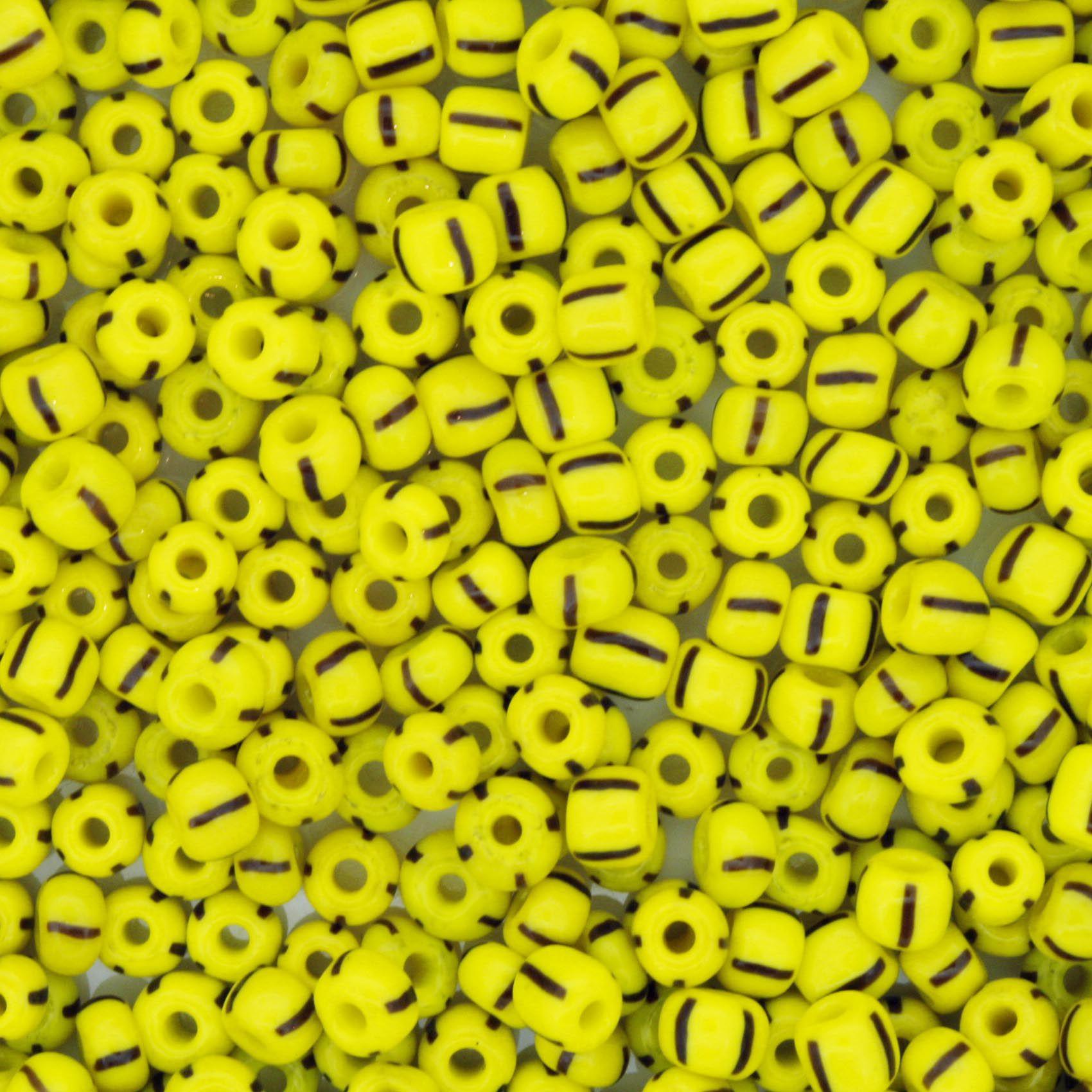 Miçanga - Rajada Amarela e Preta - 6/0 [4x3mm]  - Stéphanie Bijoux® - Peças para Bijuterias e Artesanato
