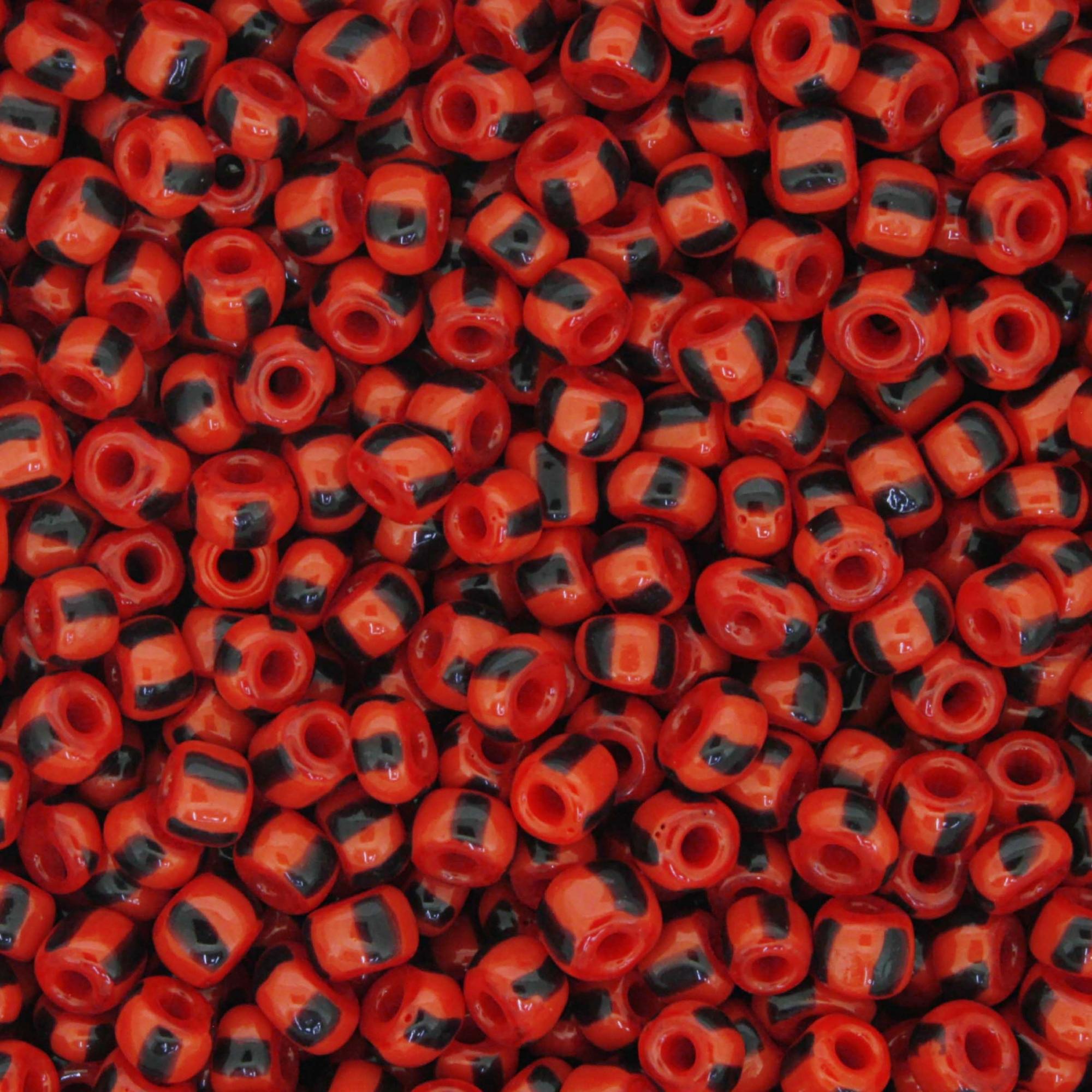 Miçanga - Vermelha e Preta - 6/0 [4x3mm]  - Stéphanie Bijoux® - Peças para Bijuterias e Artesanato