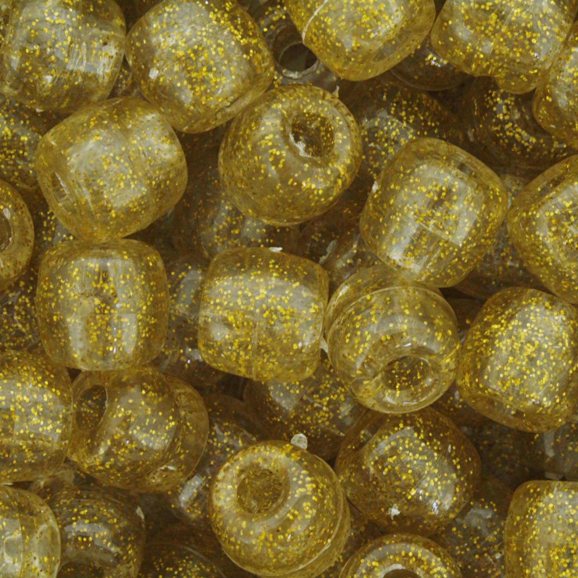 Miçangão Plástico - Tererê® - Glitter Dourado  - Stéphanie Bijoux® - Peças para Bijuterias e Artesanato