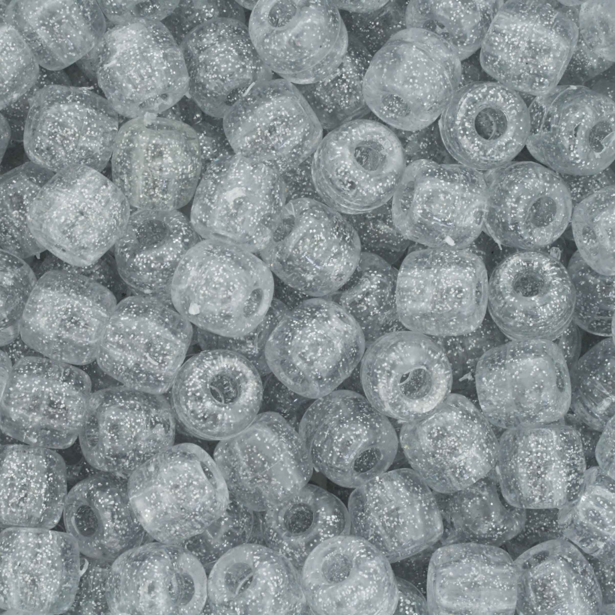 Miçangão Plástico - Tererê® - Glitter Prata  - Stéphanie Bijoux® - Peças para Bijuterias e Artesanato