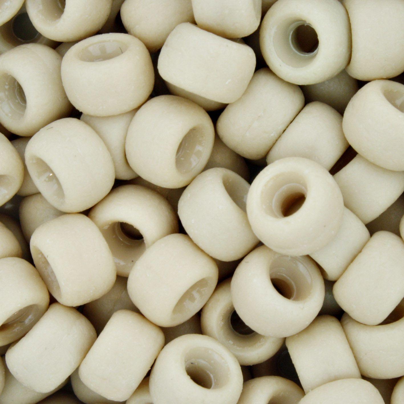 Mini Miçangão Plástico - Bege Fosco  - Stéphanie Bijoux® - Peças para Bijuterias e Artesanato