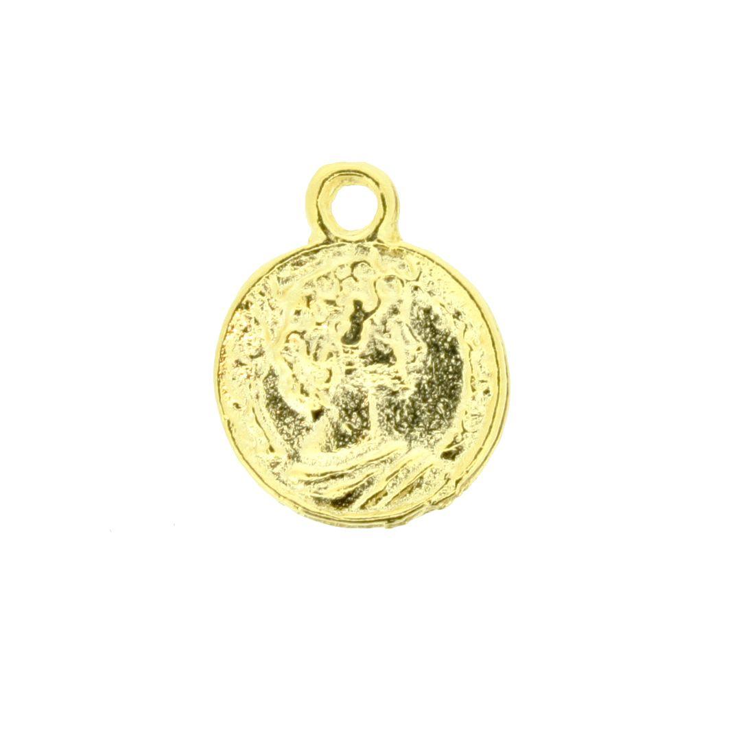 Moeda Cigana - Dourada - 16mm  - Stéphanie Bijoux® - Peças para Bijuterias e Artesanato