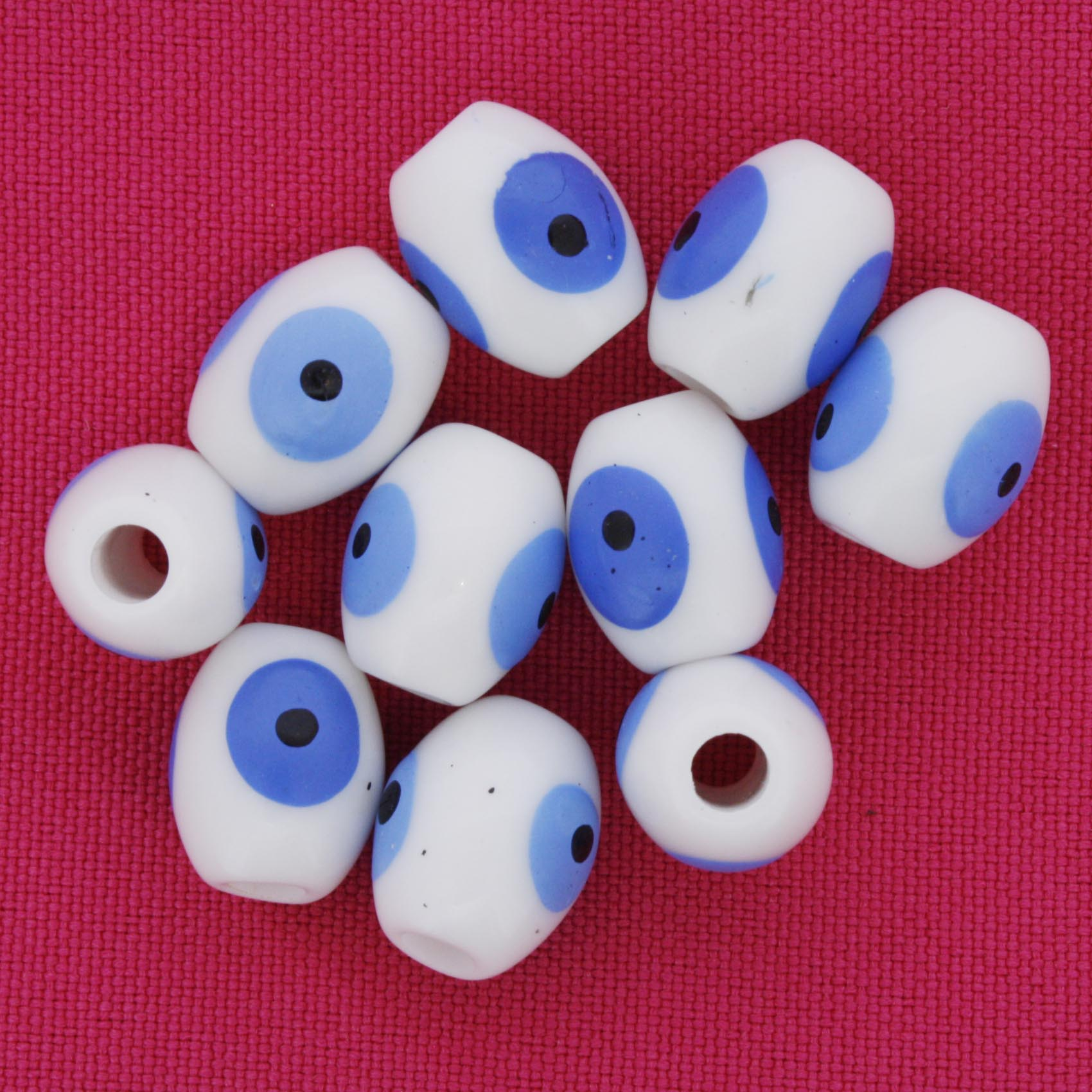 Olho Grego - Oval - Branco - 13x10mm  - Stéphanie Bijoux® - Peças para Bijuterias e Artesanato
