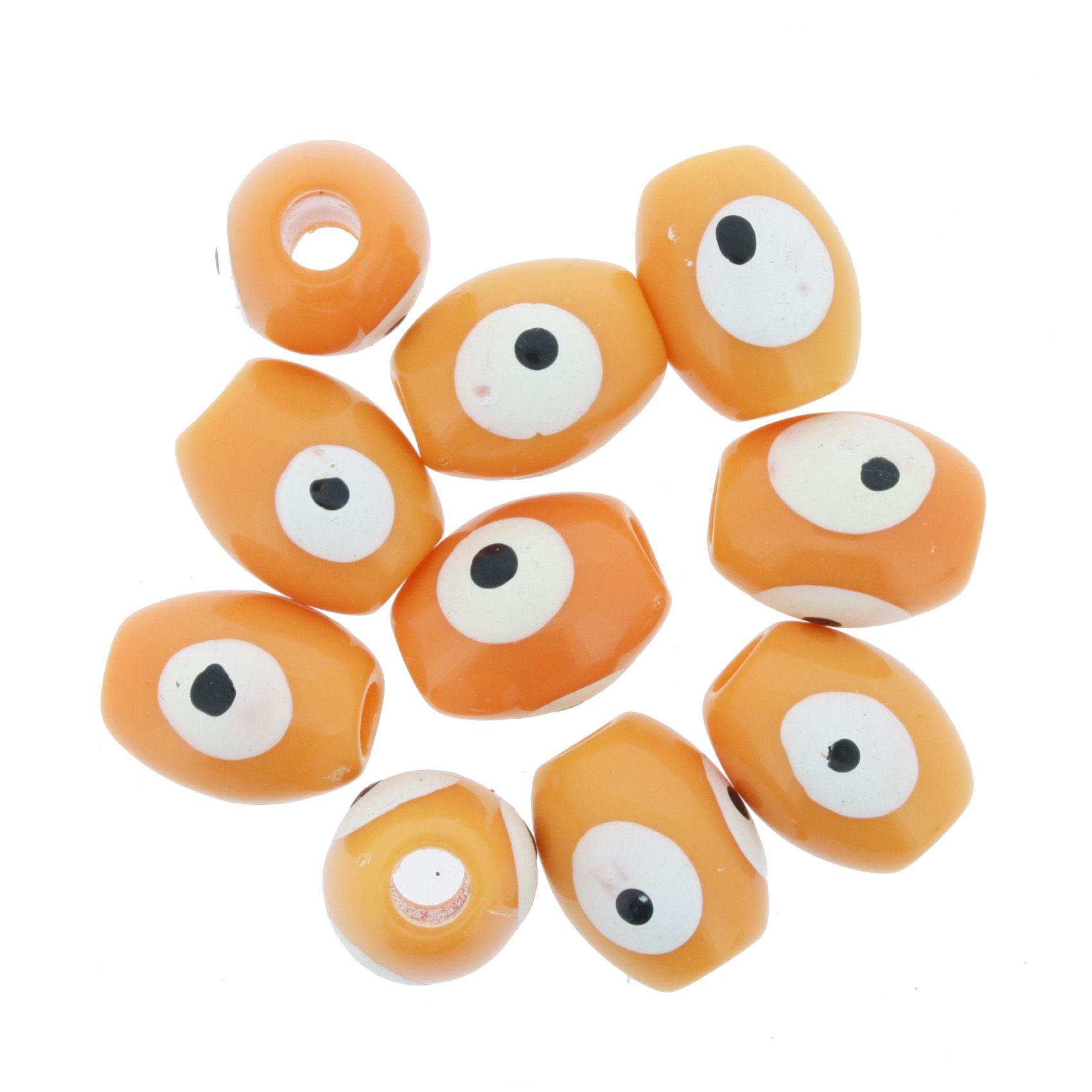 Olho Grego - Oval - Laranja - 13x10mm  - Stéphanie Bijoux® - Peças para Bijuterias e Artesanato