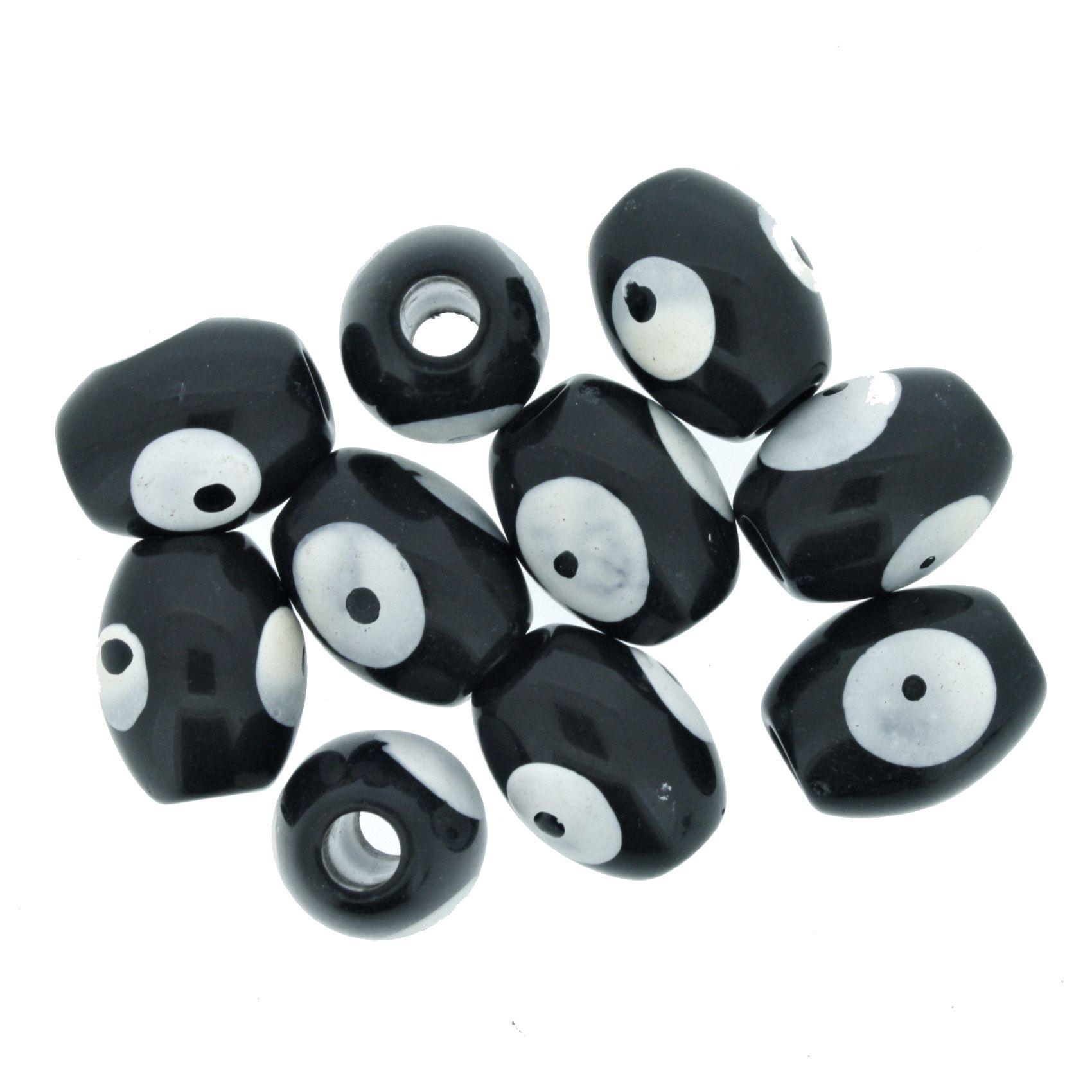 Olho Grego - Oval - Preto - 13x10mm  - Stéphanie Bijoux® - Peças para Bijuterias e Artesanato