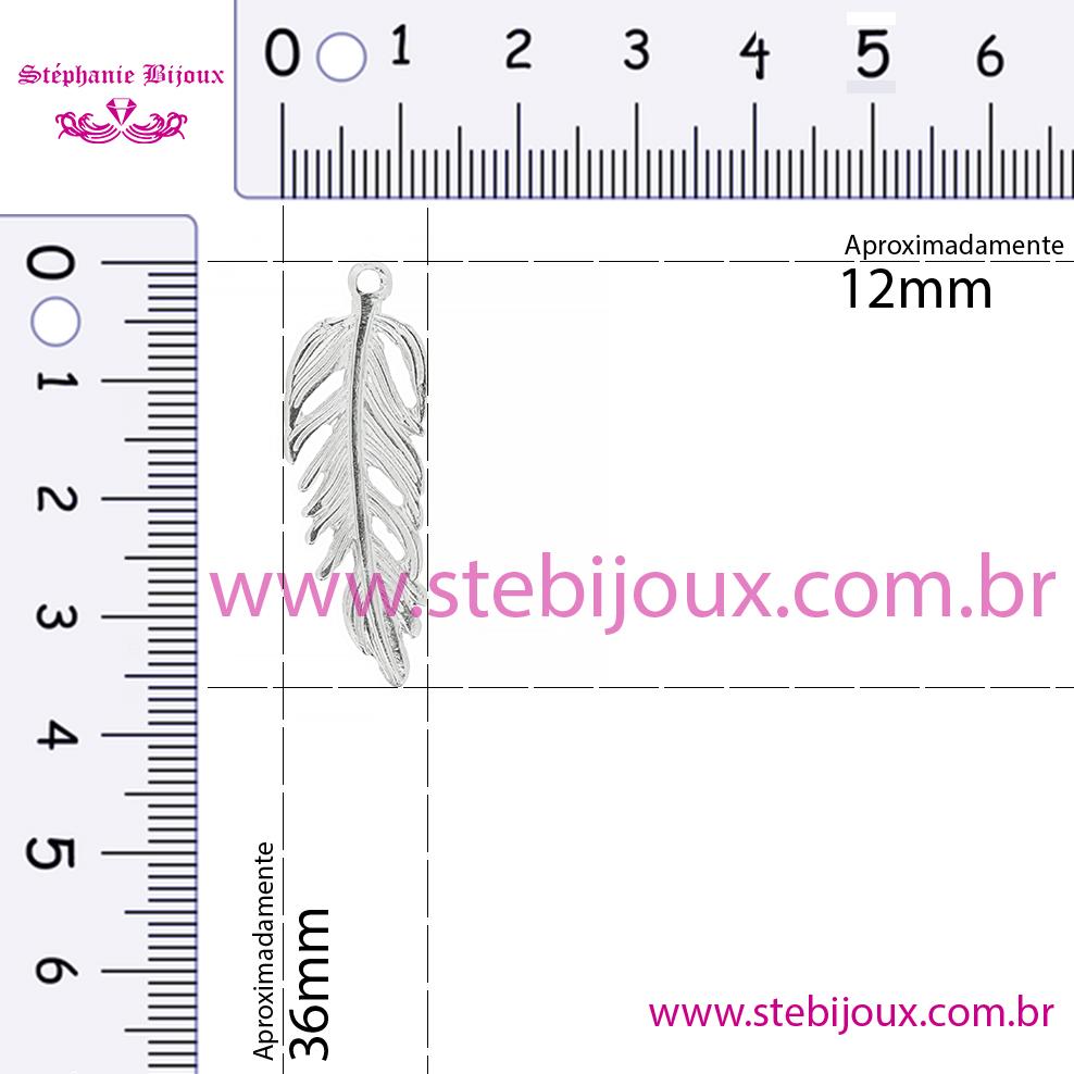 Pena - Níquel - 36mm  - Stéphanie Bijoux® - Peças para Bijuterias e Artesanato
