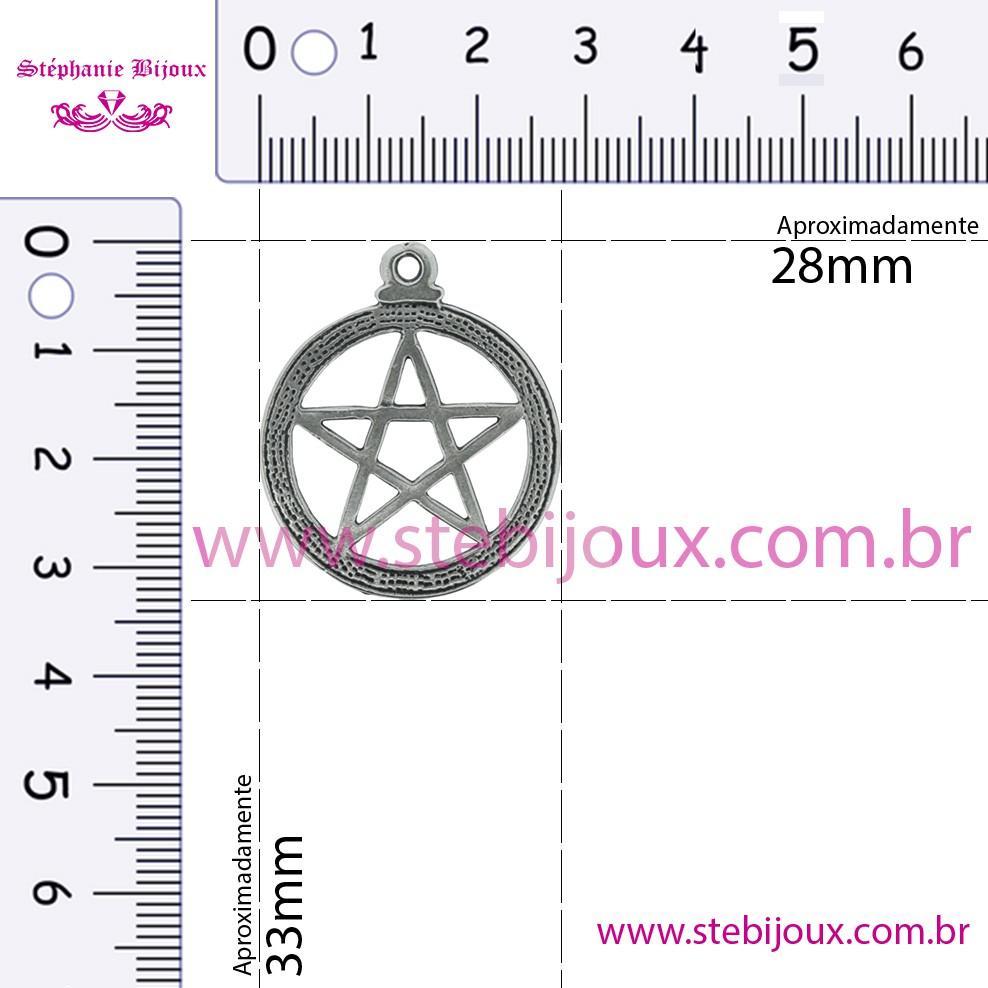Pentagrama - Níquel Velho - 33mm  - Stéphanie Bijoux® - Peças para Bijuterias e Artesanato