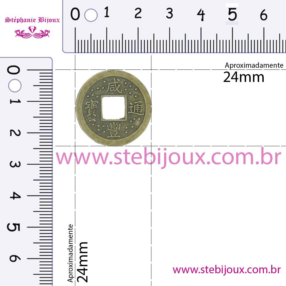 Pingente Moeda Oriental - Ouro Velho - 24mm  - Stéphanie Bijoux® - Peças para Bijuterias e Artesanato
