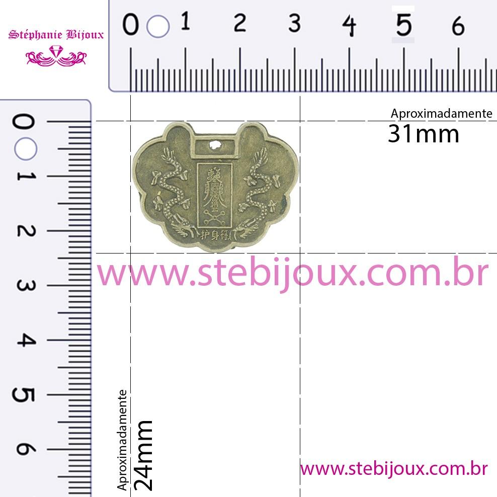 Pingente Moeda Oriental - Ouro Velho - 31mm  - Stéphanie Bijoux® - Peças para Bijuterias e Artesanato