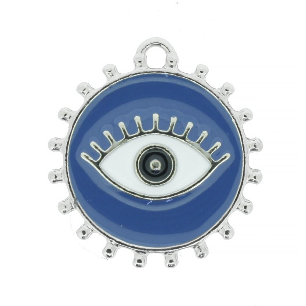 Pingente Olho Grego - Níquel e Resina - Azul  - Stéphanie Bijoux® - Peças para Bijuterias e Artesanato