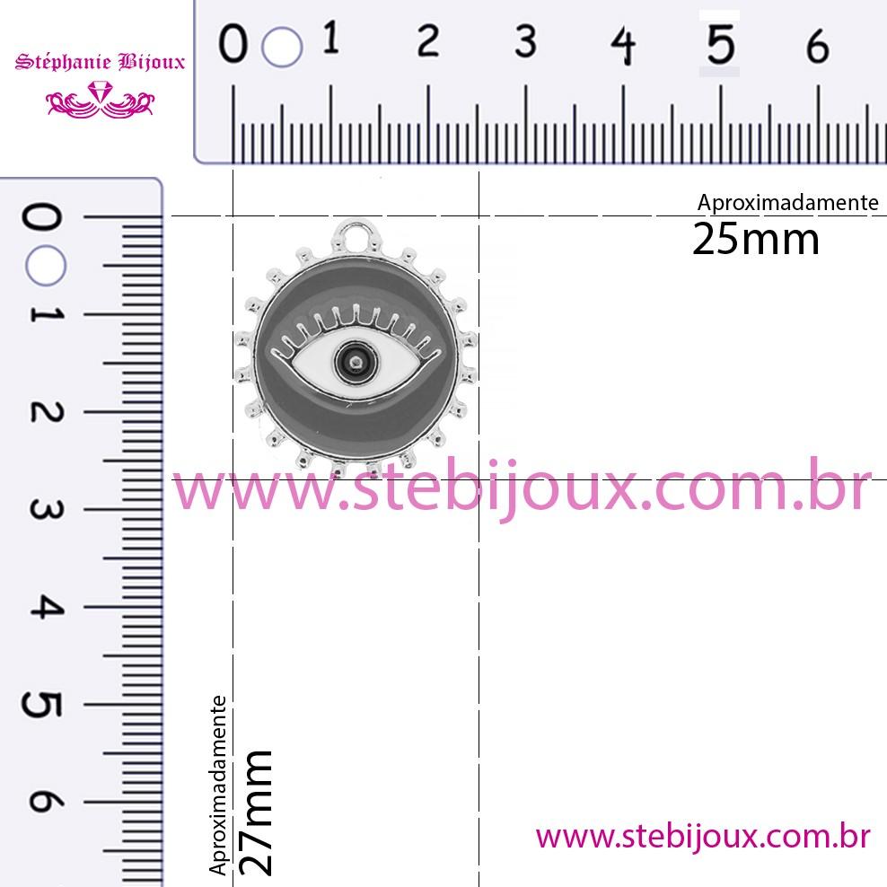 Pingente Olho Grego - Níquel e Resina - Branco  - Stéphanie Bijoux® - Peças para Bijuterias e Artesanato