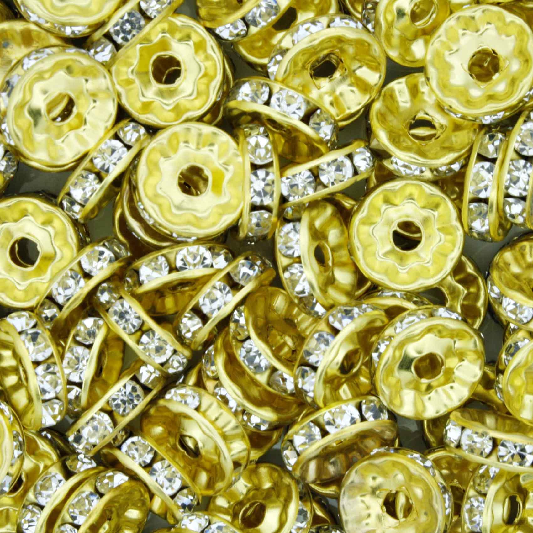 Rondela de Strass - Dourada - 10mm  - Stéphanie Bijoux® - Peças para Bijuterias e Artesanato