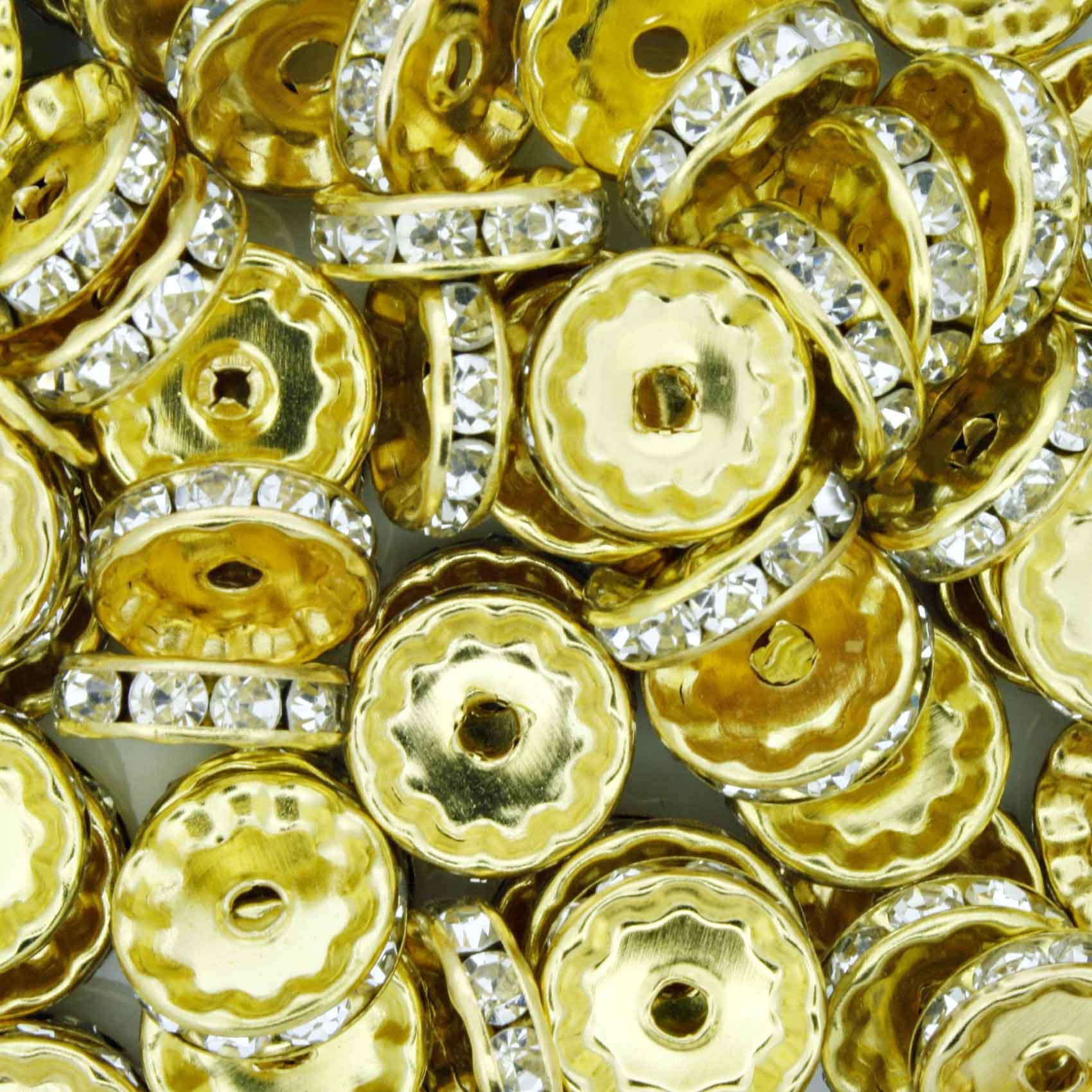 Rondela de Strass - Dourada - 12mm  - Stéphanie Bijoux® - Peças para Bijuterias e Artesanato