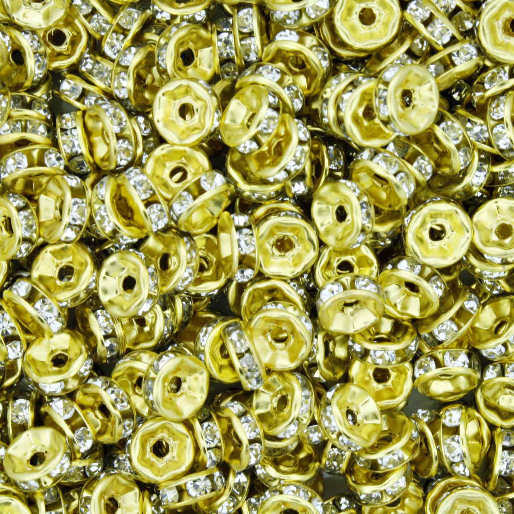 Rondela de Strass - Dourada - 6mm  - Stéphanie Bijoux® - Peças para Bijuterias e Artesanato