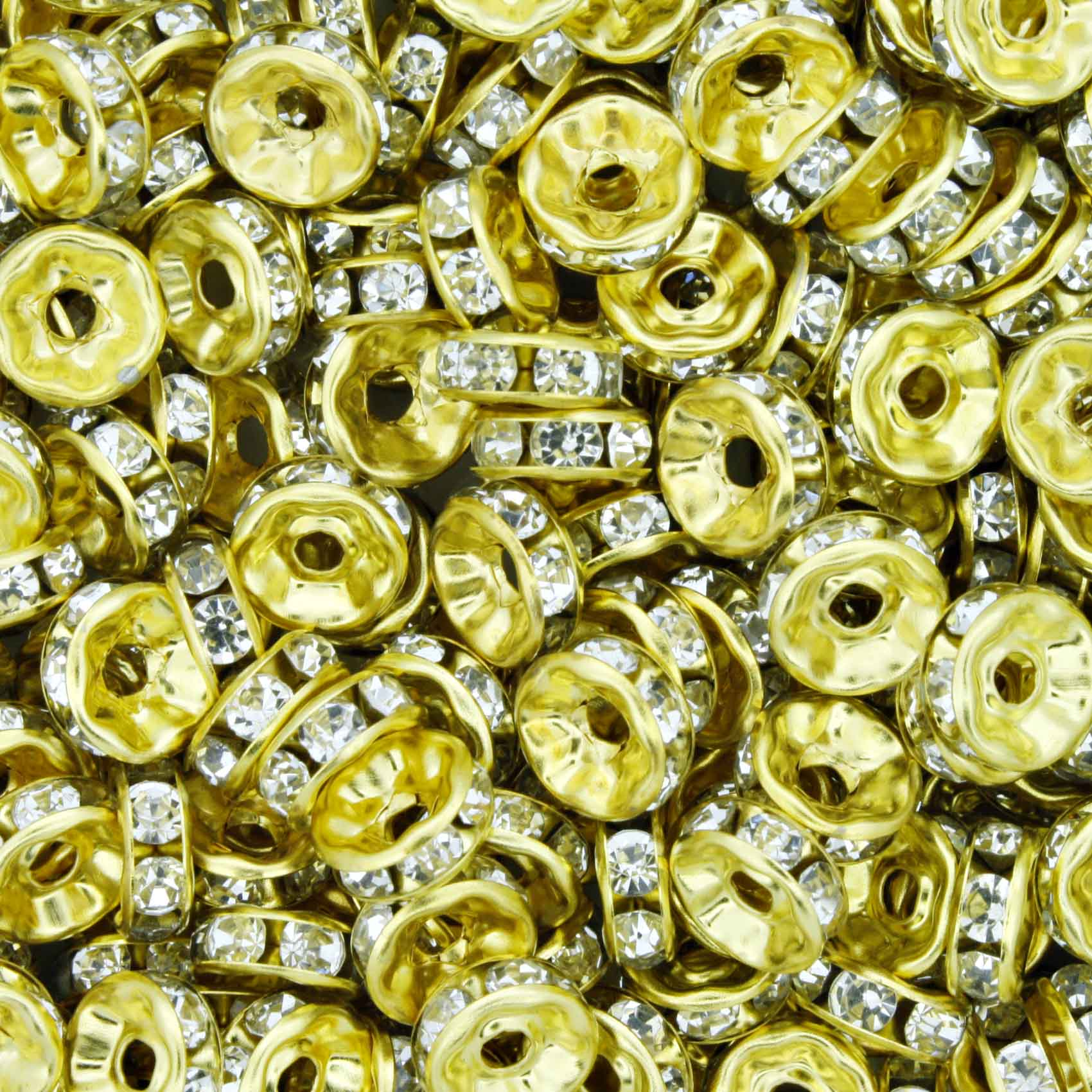 Rondela de Strass - Dourada - 8mm  - Stéphanie Bijoux® - Peças para Bijuterias e Artesanato