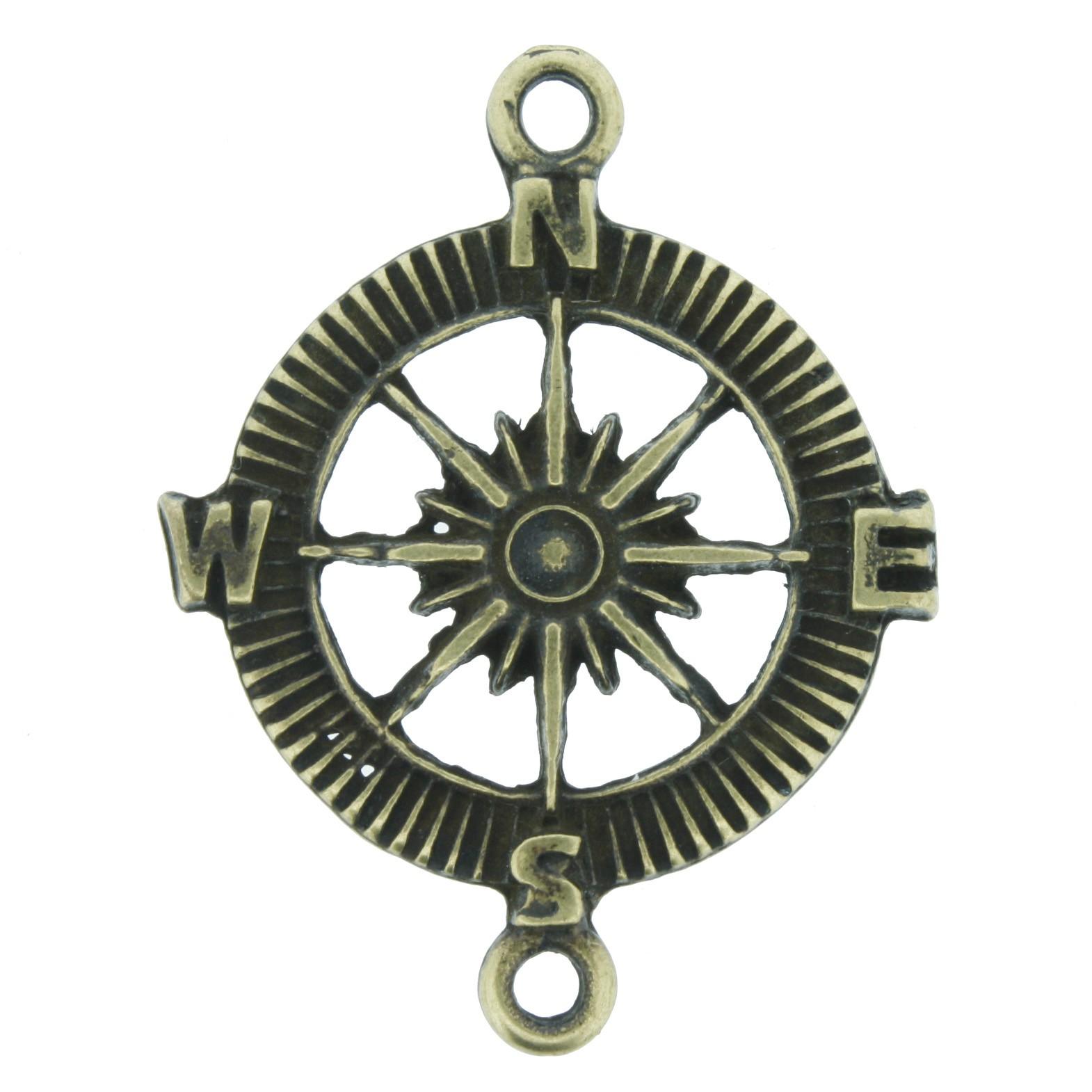 Rosa dos Ventos - Ouro Velho - 40mm  - Stéphanie Bijoux® - Peças para Bijuterias e Artesanato
