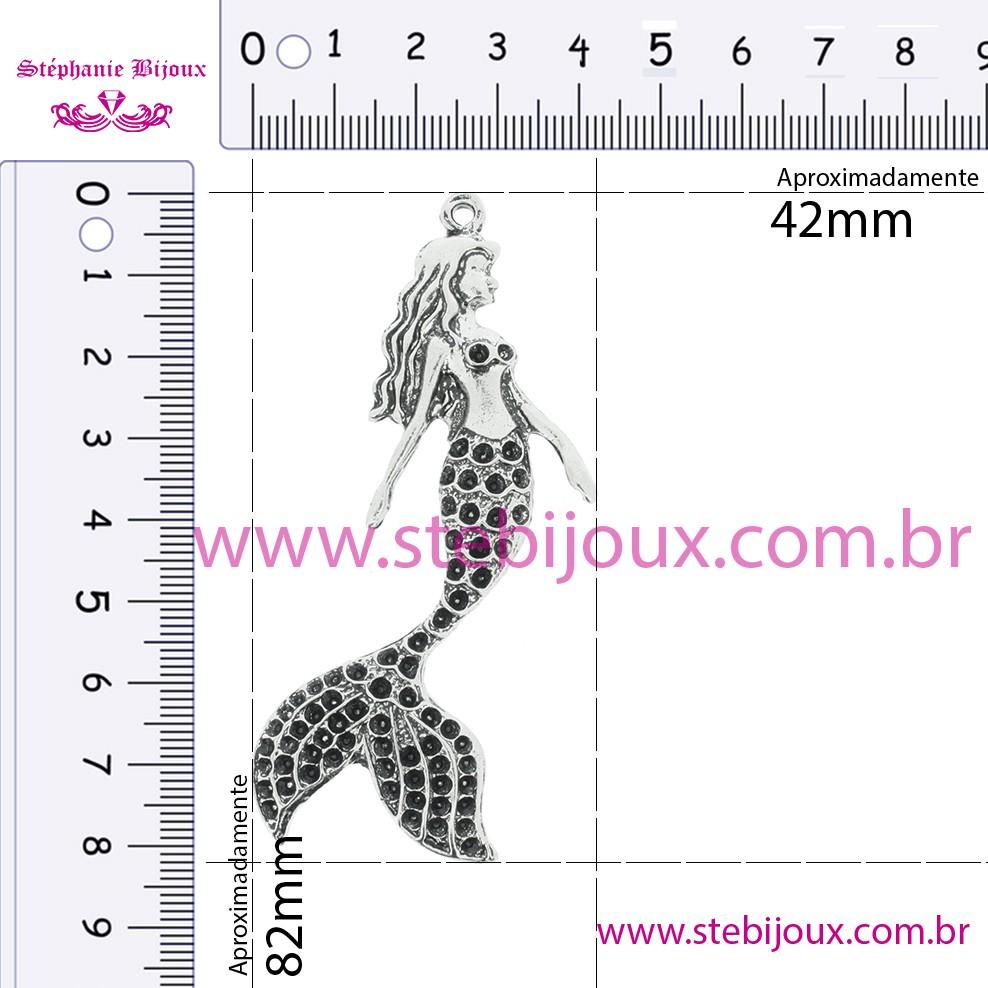 Sereia - Níquel Gráfico - 82mm  - Stéphanie Bijoux® - Peças para Bijuterias e Artesanato