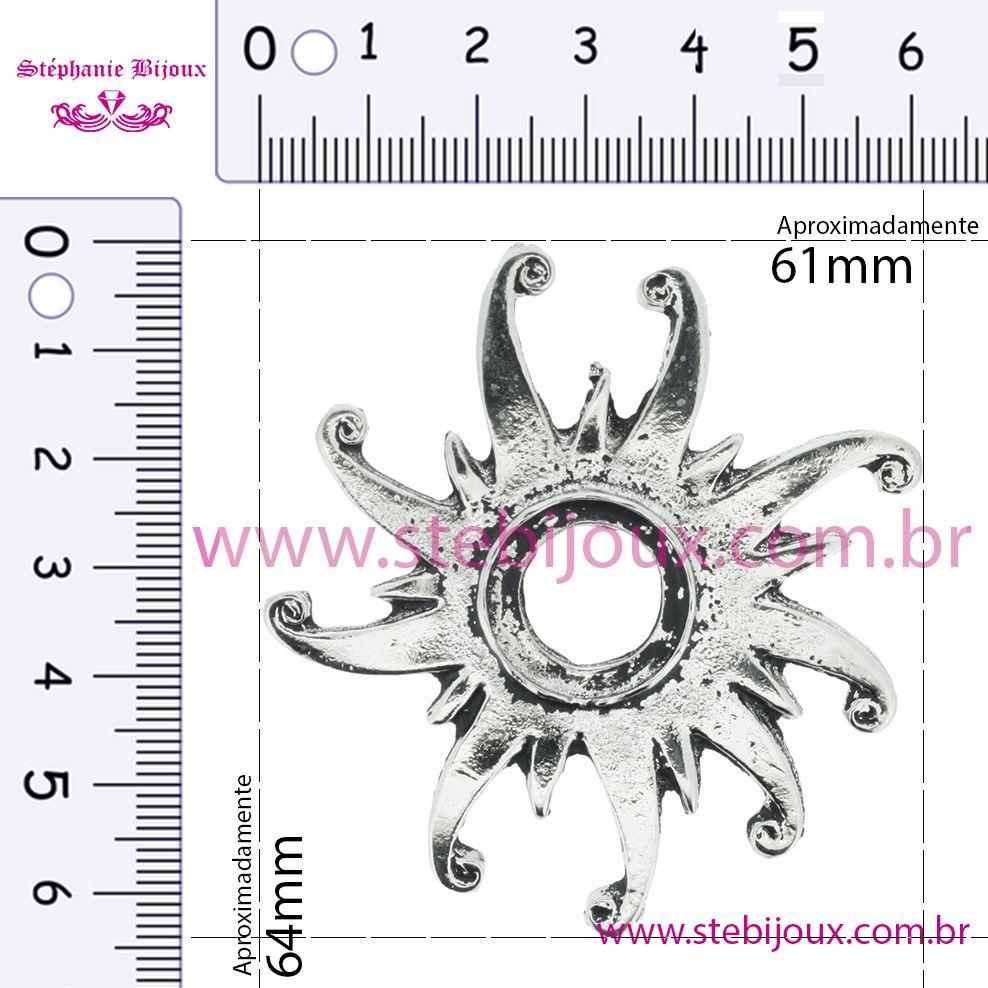 Sol Místico - Níquel Velho - 64mm  - Stéphanie Bijoux® - Peças para Bijuterias e Artesanato