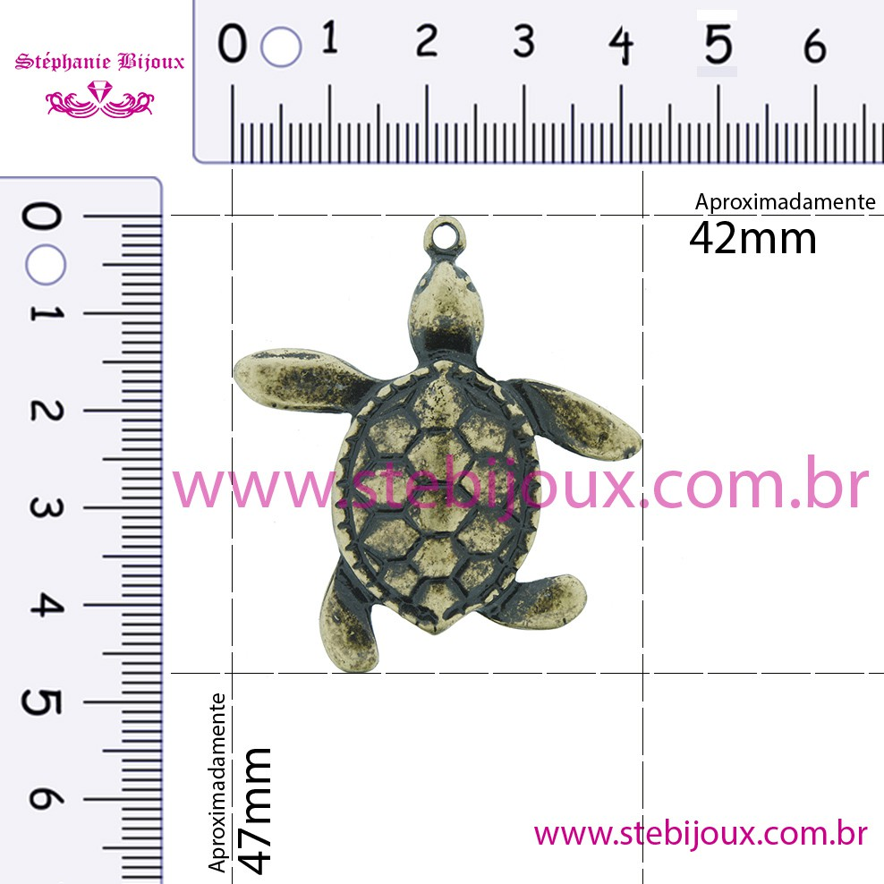 Tartaruga - Ouro Velho - 47mm  - Stéphanie Bijoux® - Peças para Bijuterias e Artesanato