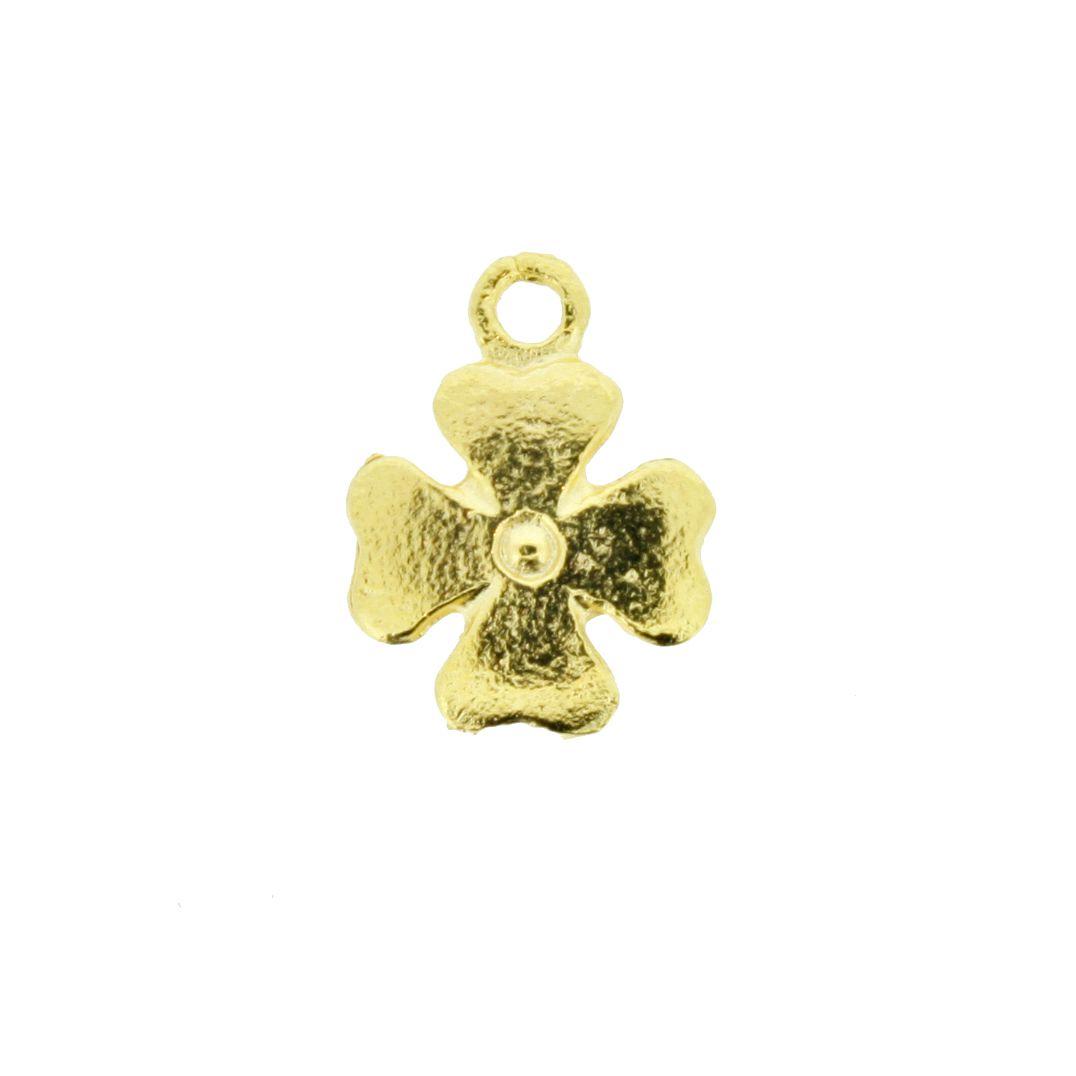 Trevo 4 Folhas - Dourada - 15mm  - Stéphanie Bijoux® - Peças para Bijuterias e Artesanato