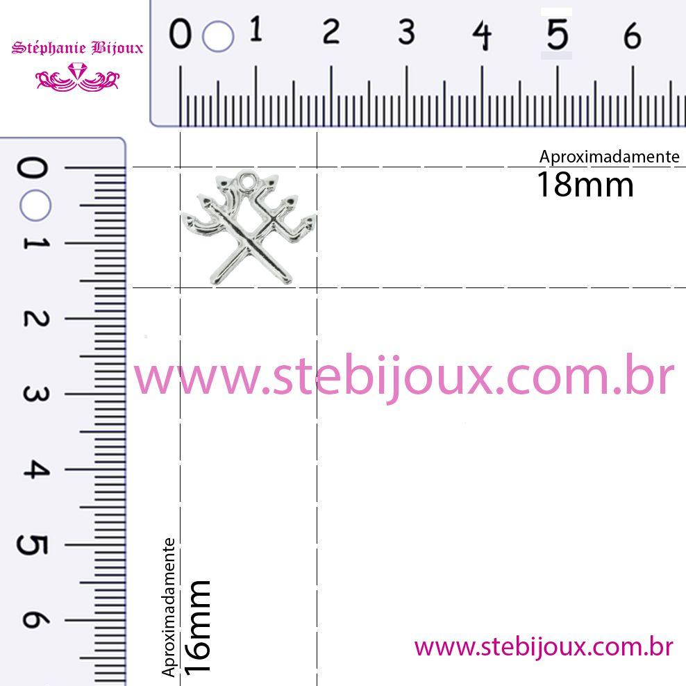 Tridente Duplo - Níquel - 16mm  - Stéphanie Bijoux® - Peças para Bijuterias e Artesanato