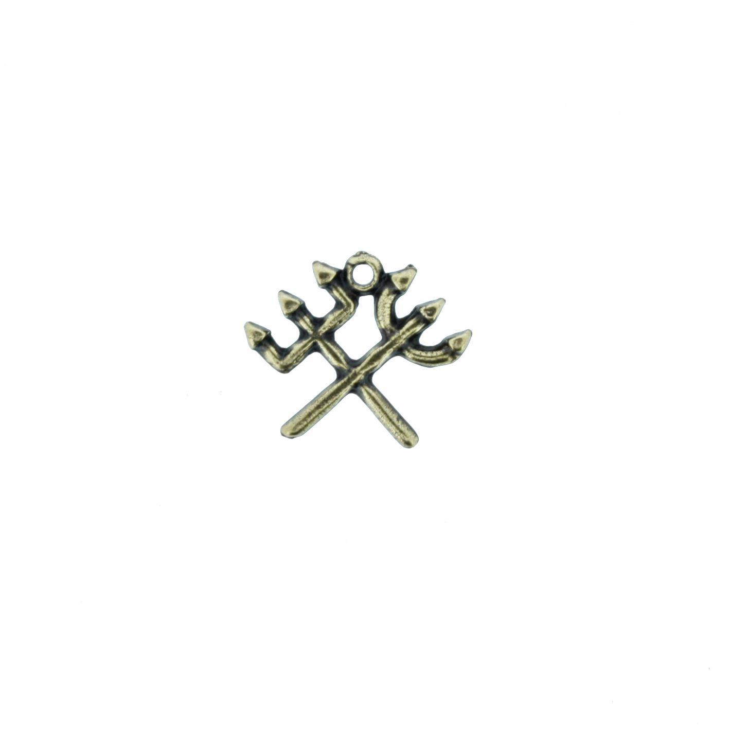 Tridente Duplo - Ouro Velho - 16mm  - Stéphanie Bijoux® - Peças para Bijuterias e Artesanato